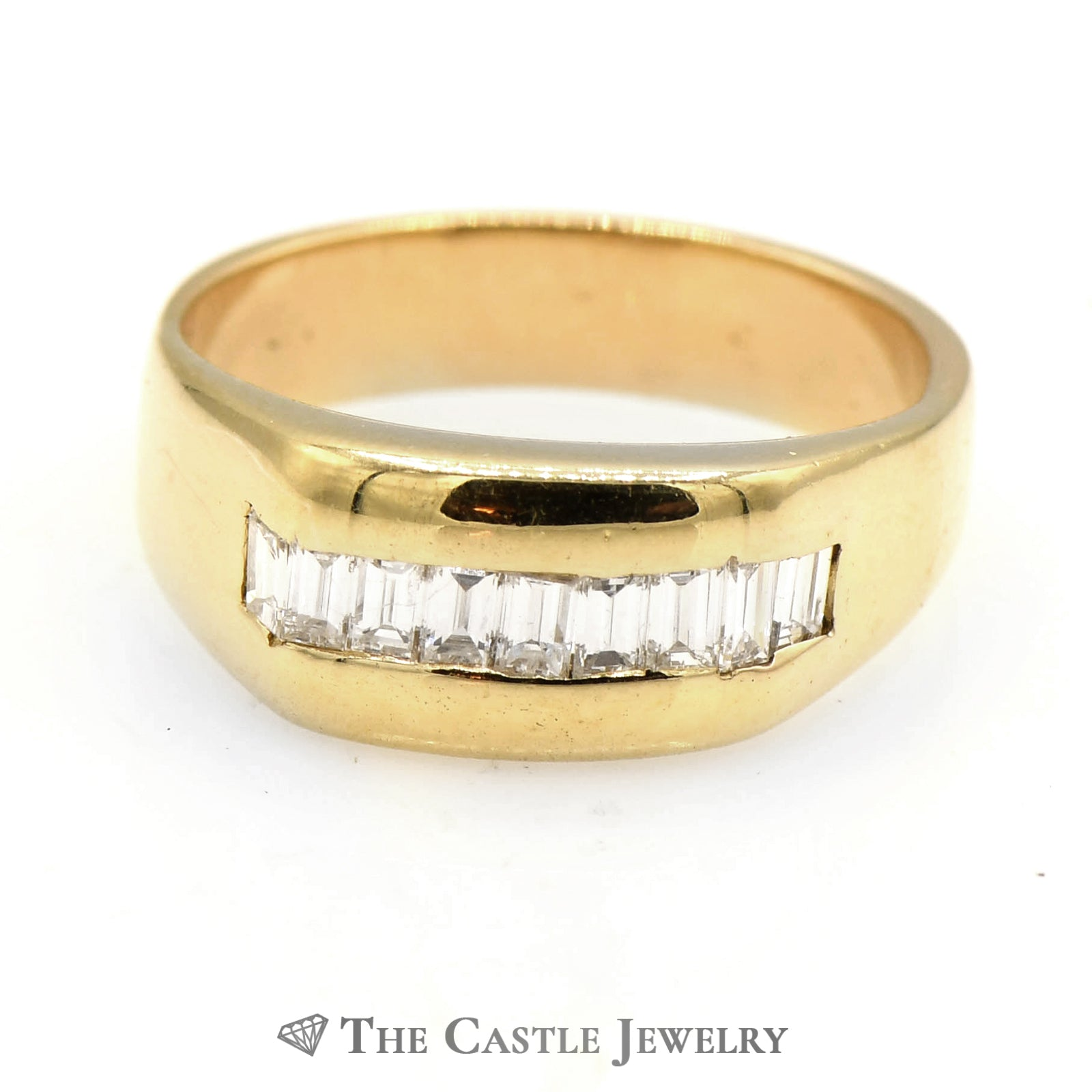 Men's .75cttw Channel Set Baguette Diamond Band in 14k Yellow Gold