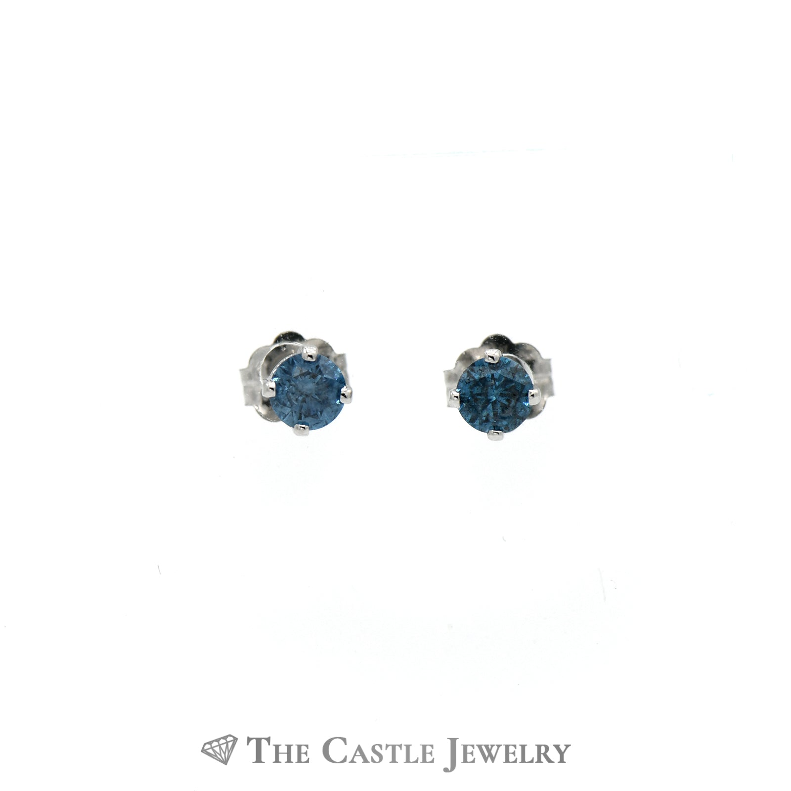 Sparkling Blue Diamond Stud Earrings in 14K White Gold