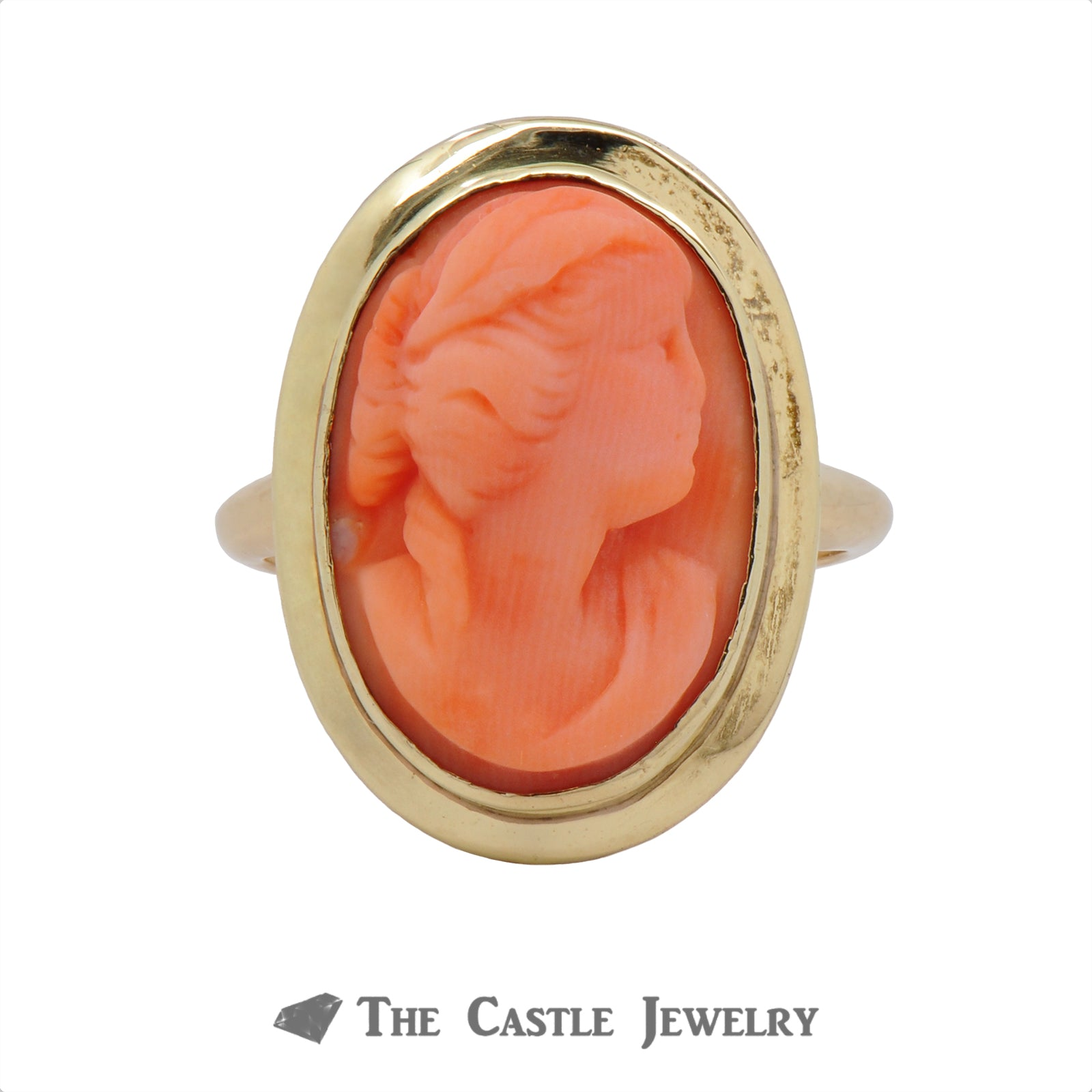 Vintage Style Pink Coral Cameo Ring In 14K Yellow Gold-0