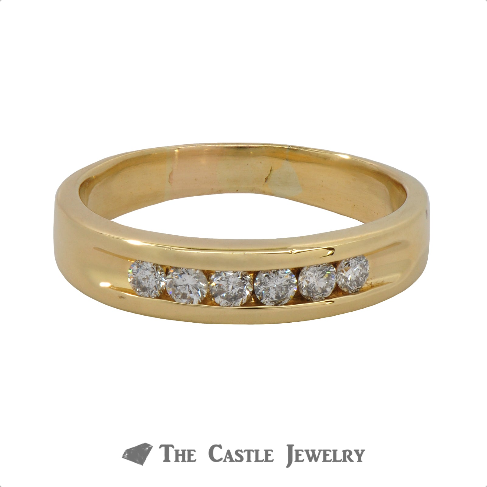 Gent's Channel-Set Round Brilliant Cut Diamond Wedding Band .35cttw In 18K Yellow Gold
