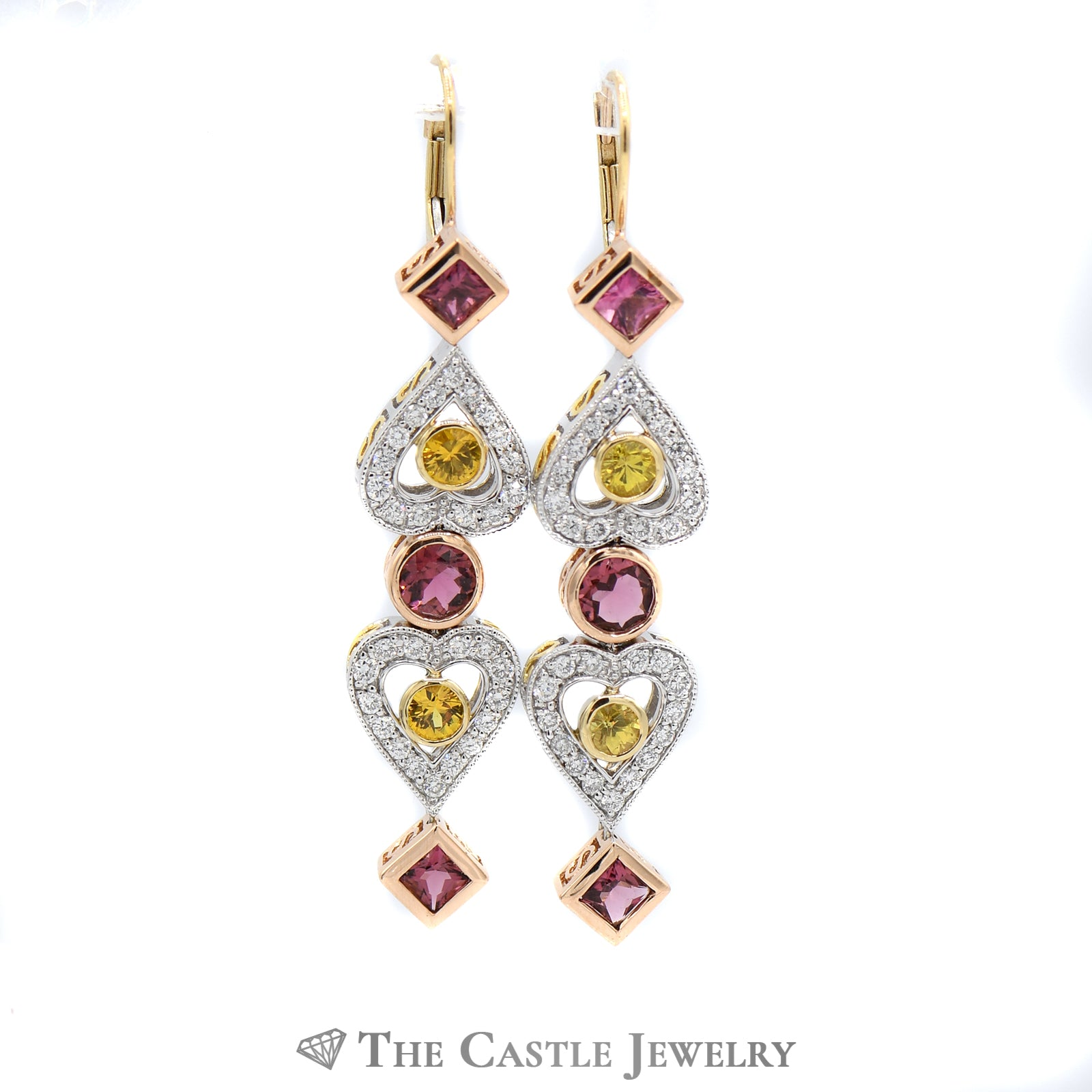 Demeter Dangling Diamond, Pink Tourmaline, & Yellow Sapphire Earrings
