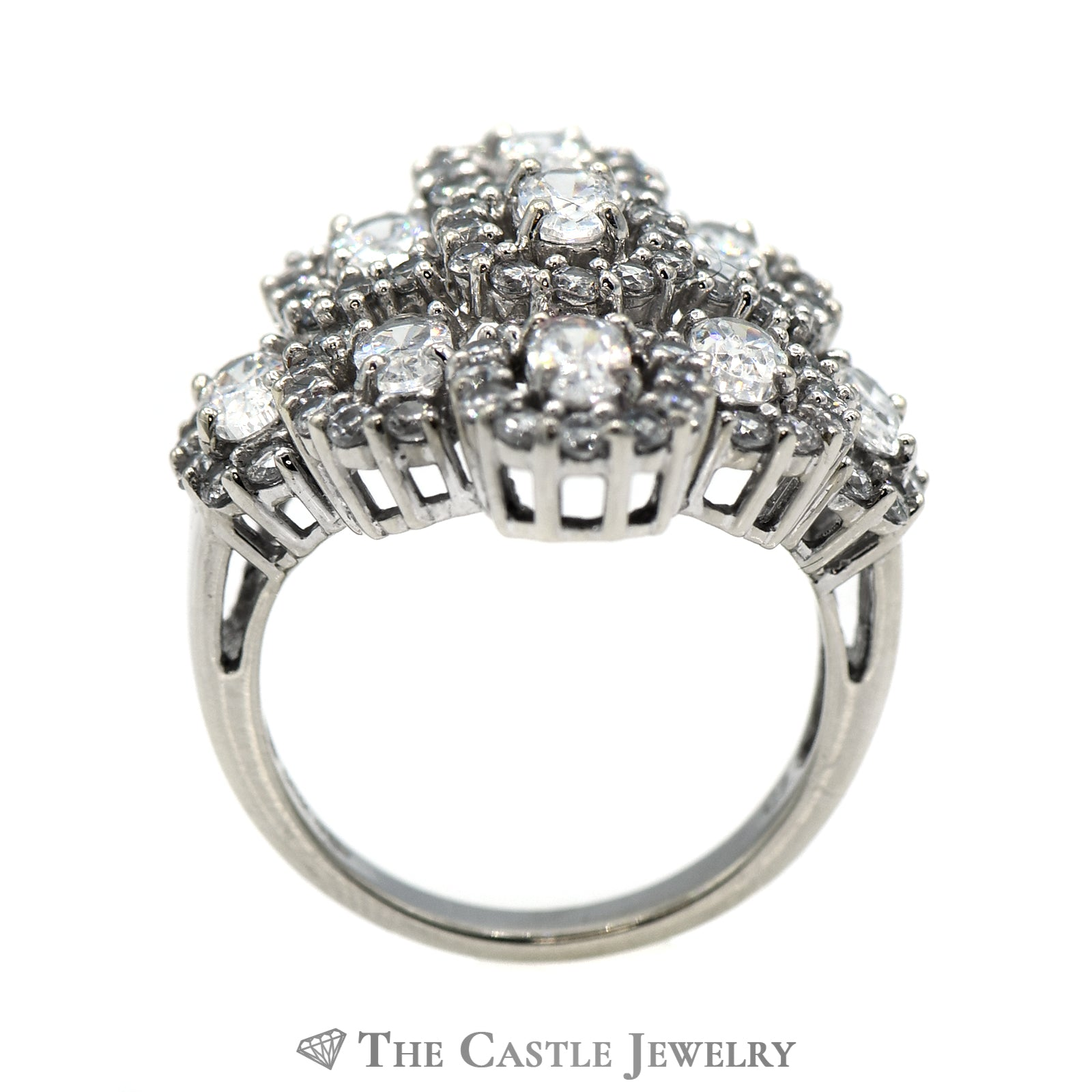 Oval 10K White Gold CZ Cluster Cocktail Ring-1