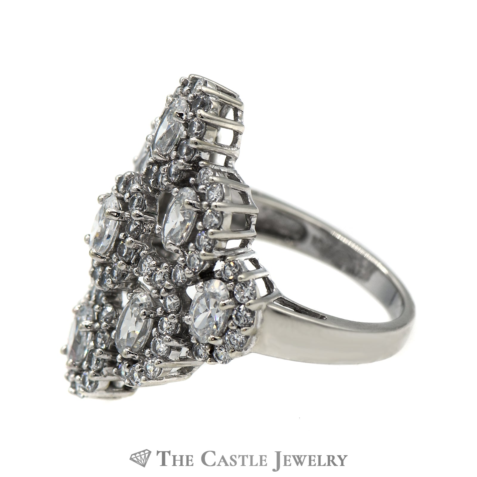 Oval 10K White Gold CZ Cluster Cocktail Ring-2