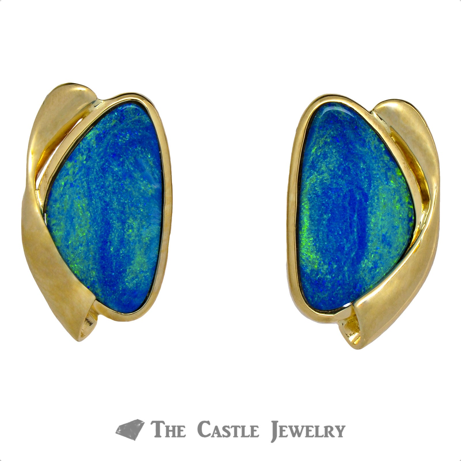 Stunning Black Opal Earrings with Twisted Hollow Gold Design