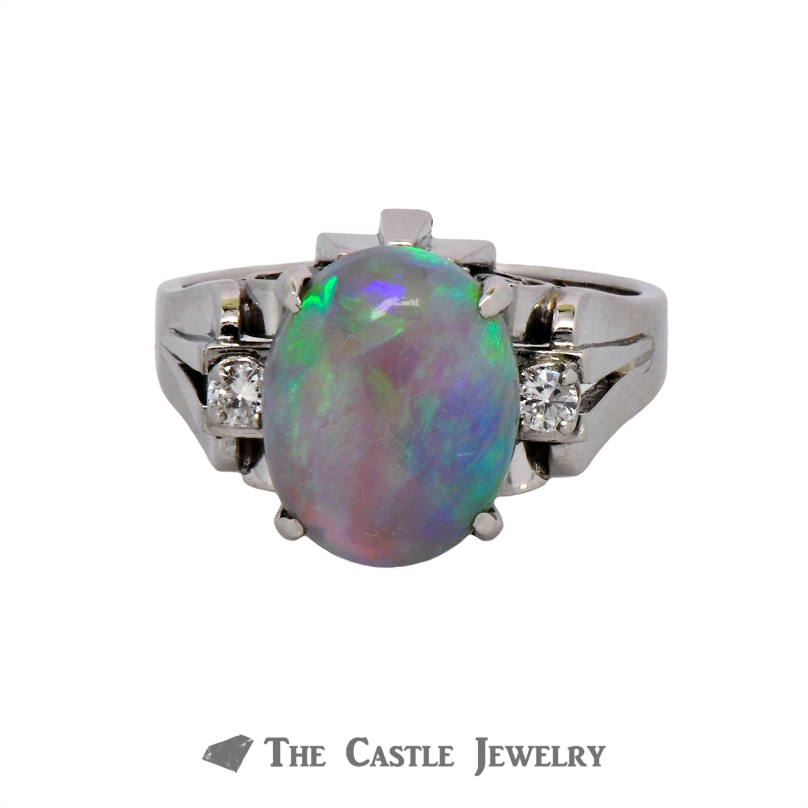 Vintage Opal Ring with Diamond Accents Crafted in a Platinum Cathedral Mounting