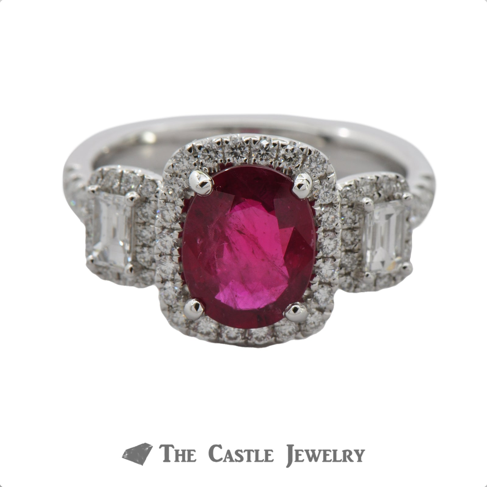 Deep Red Oval Ruby Ring with Emerald Cut Diamond Accents & Bezel