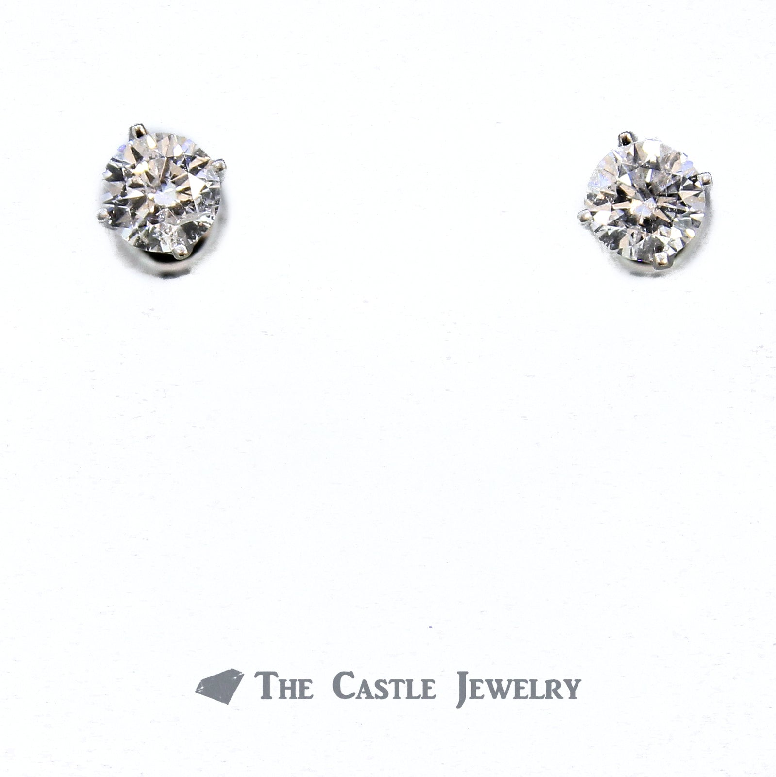 1.50cttw Round Brilliant Cut Diamond Stud Earrings in 14K White Gold