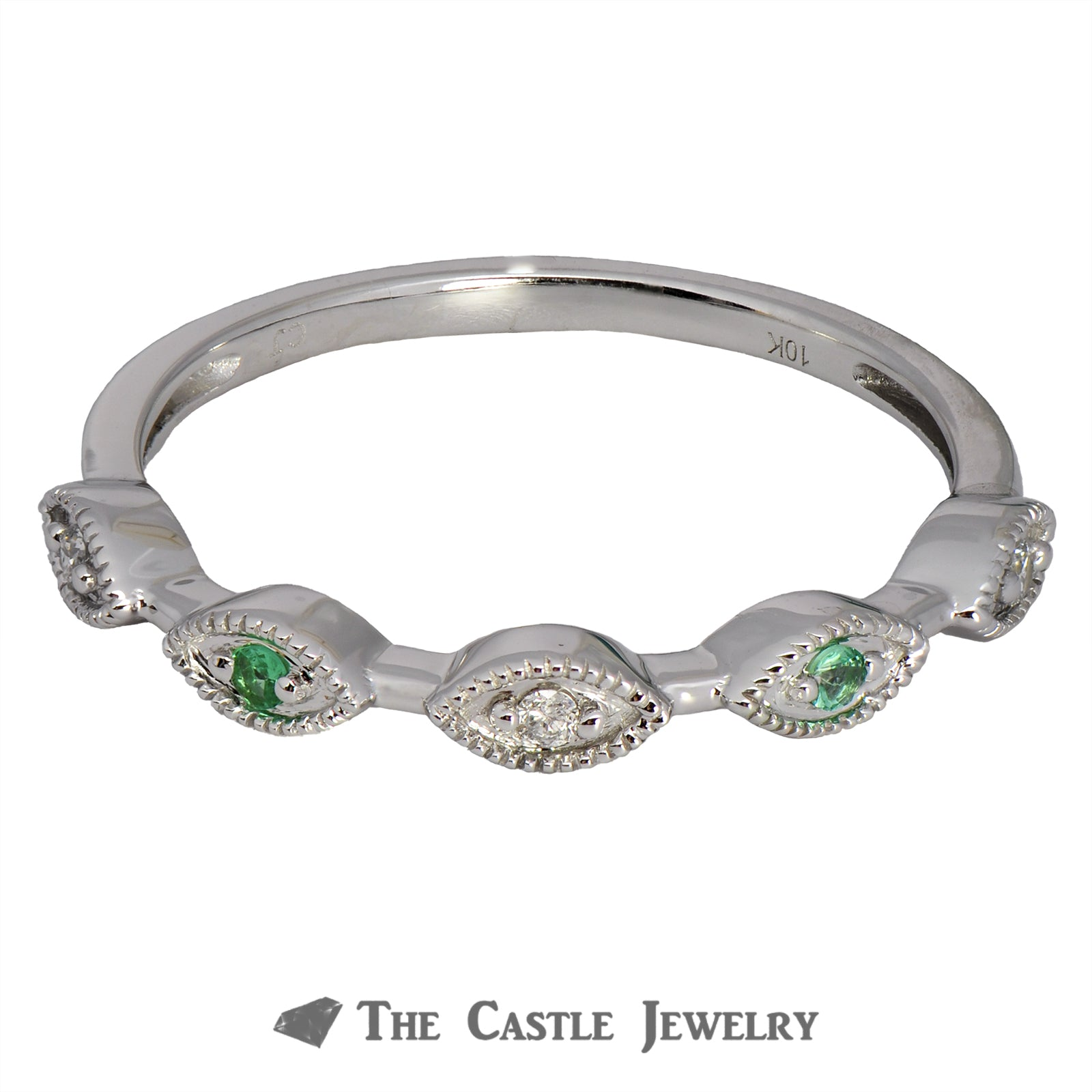 Emerald Stackable Ring with Diamond Accents in 10K White Gold