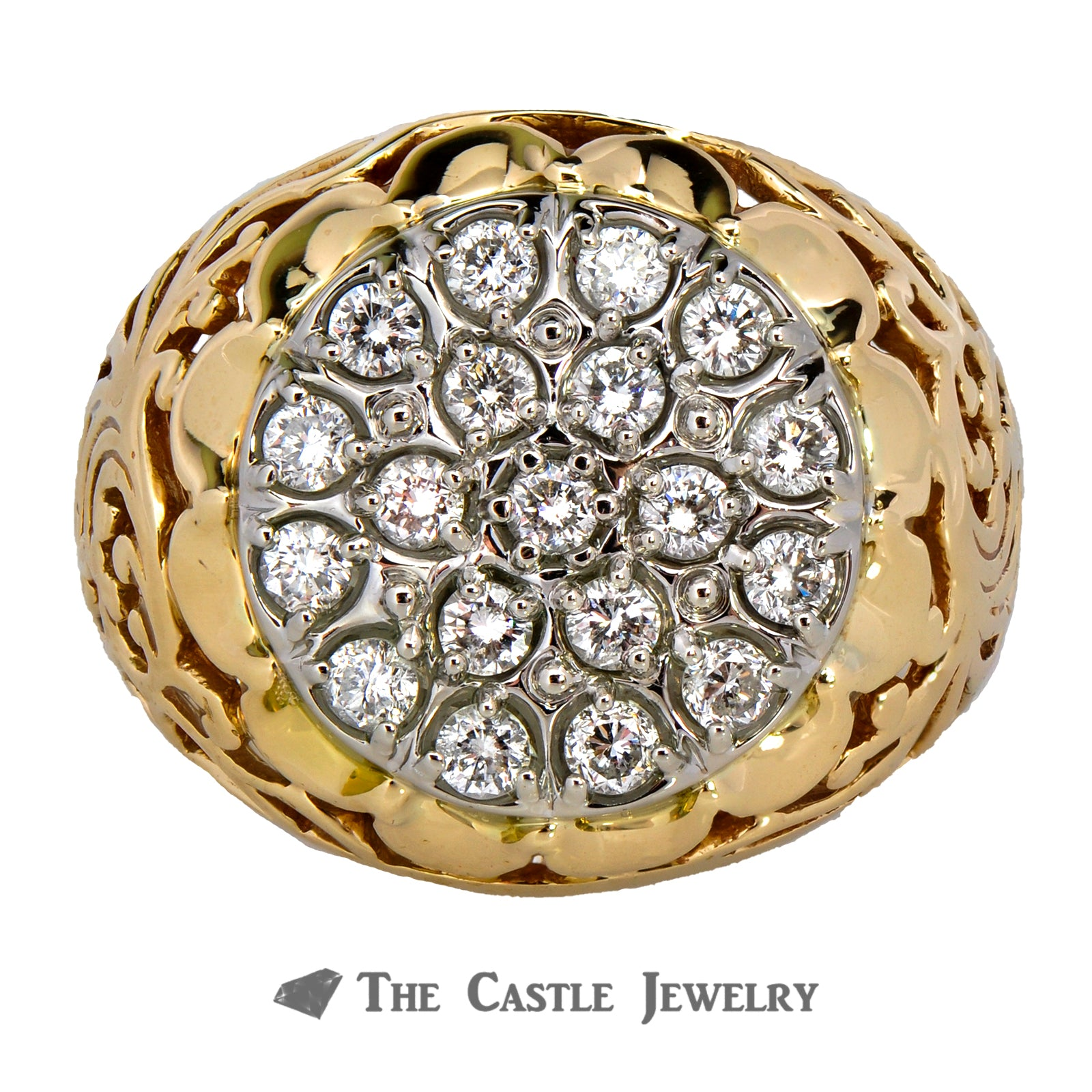 Kentucky Cluster Ring 1cttw 19 Round Brilliant Cut Diamonds in 10K Yellow Gold