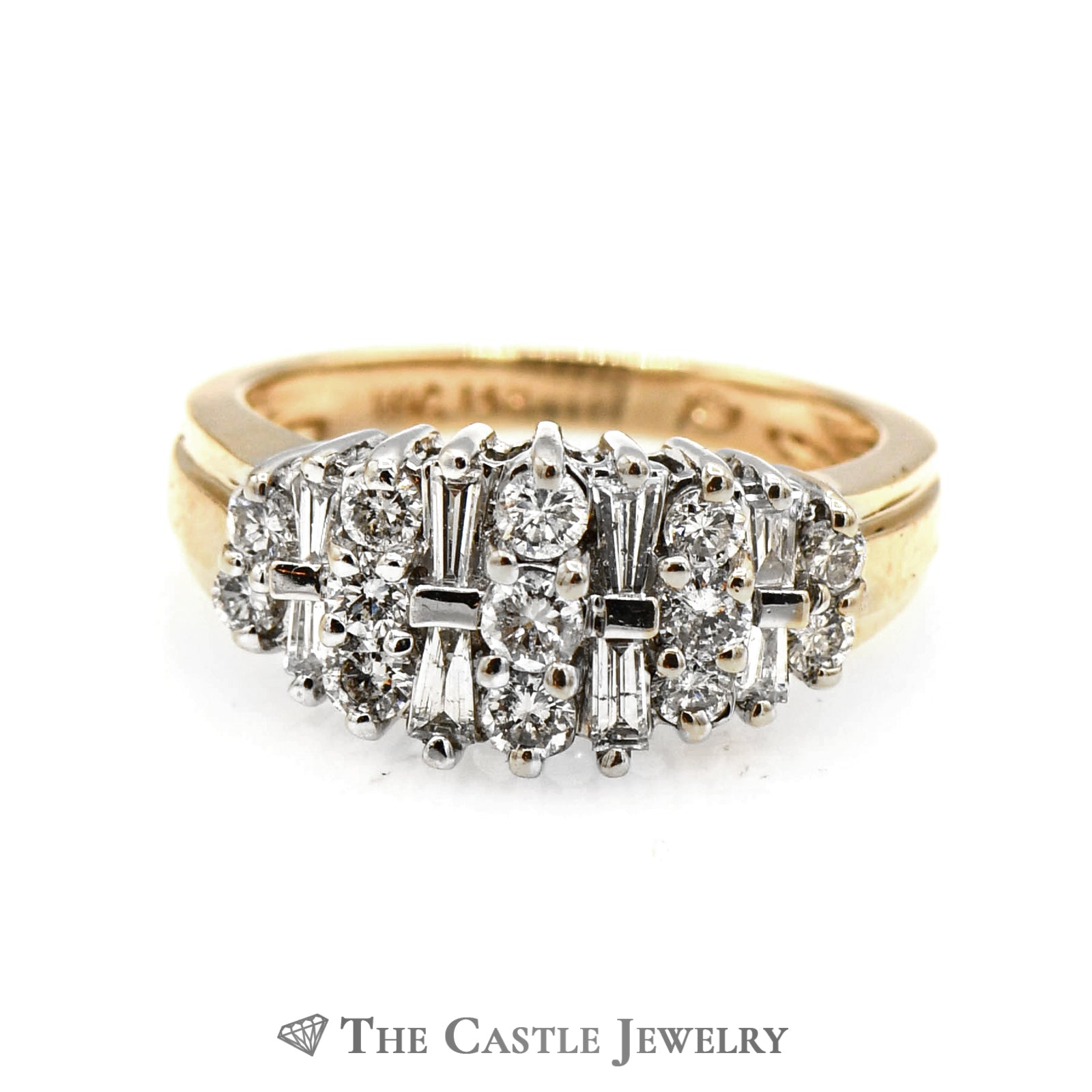 1cttw Round and Baguette Diamond Cluster Ring in 14k Yellow Gold