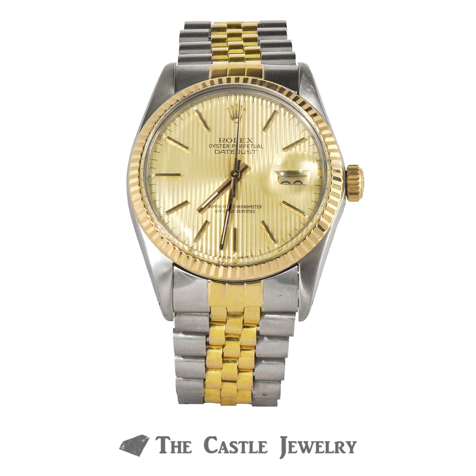 Rolex Datejust 36mm 18K & Steel with Gold Tapestry Dial 16013
