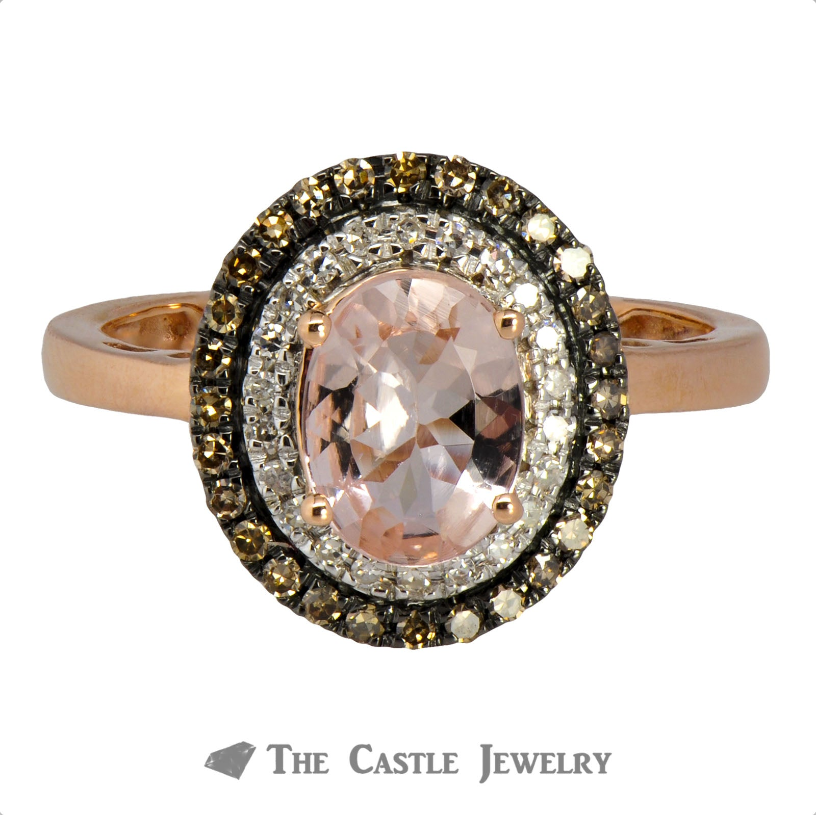 Double Halo Oval Morganite Ring with Round Chocolate Diamonds-0