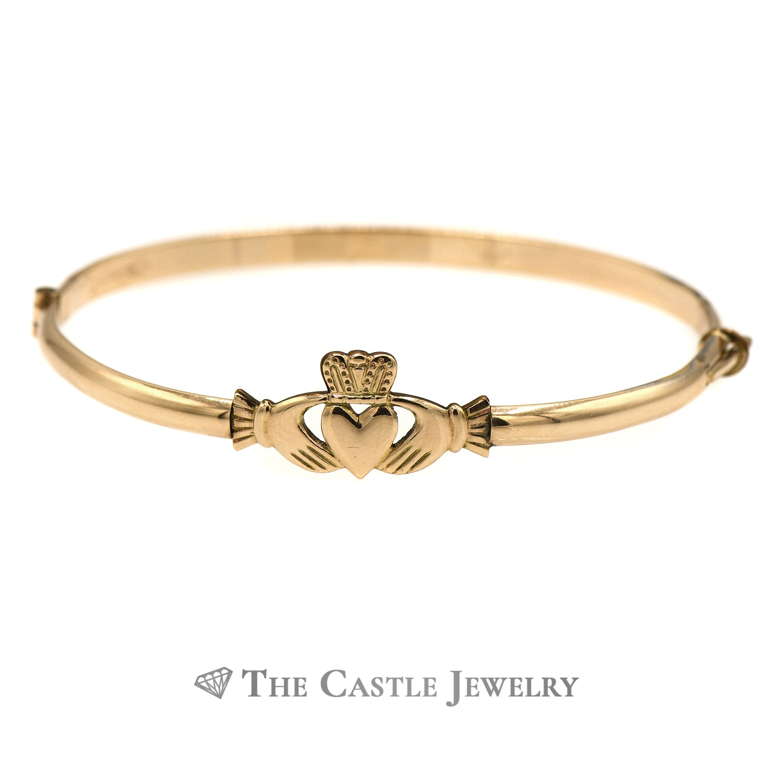 10k Yellow Gold Claddagh Bangle Bracelet-0