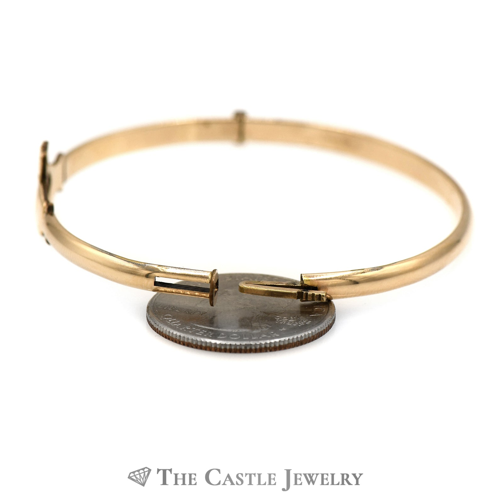 10k Yellow Gold Claddagh Bangle Bracelet-1