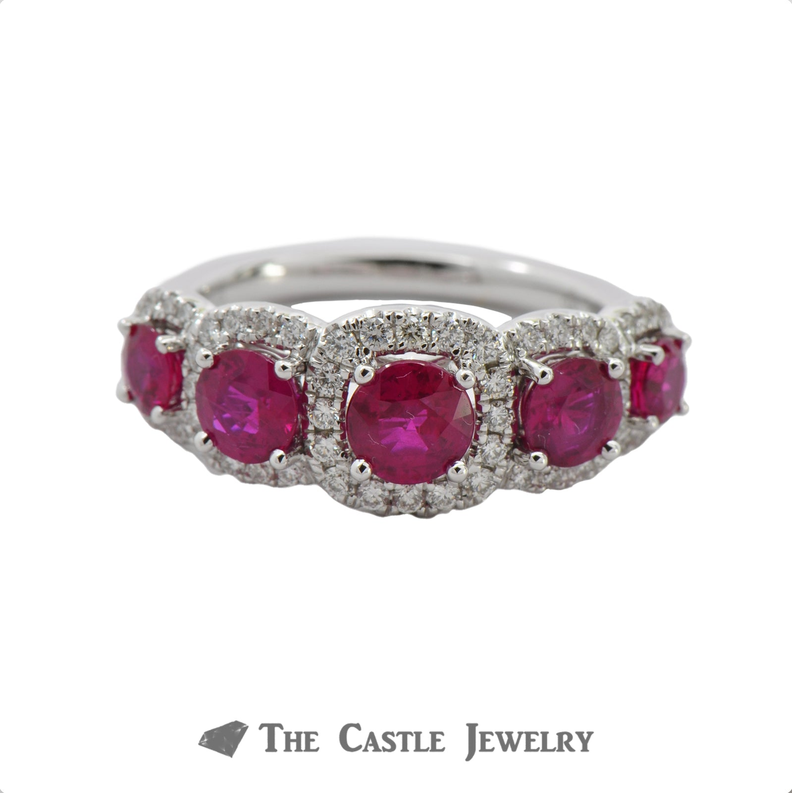 Ruby Ring with Cushion Shaped Diamond Bezel in 18K White Gold-0