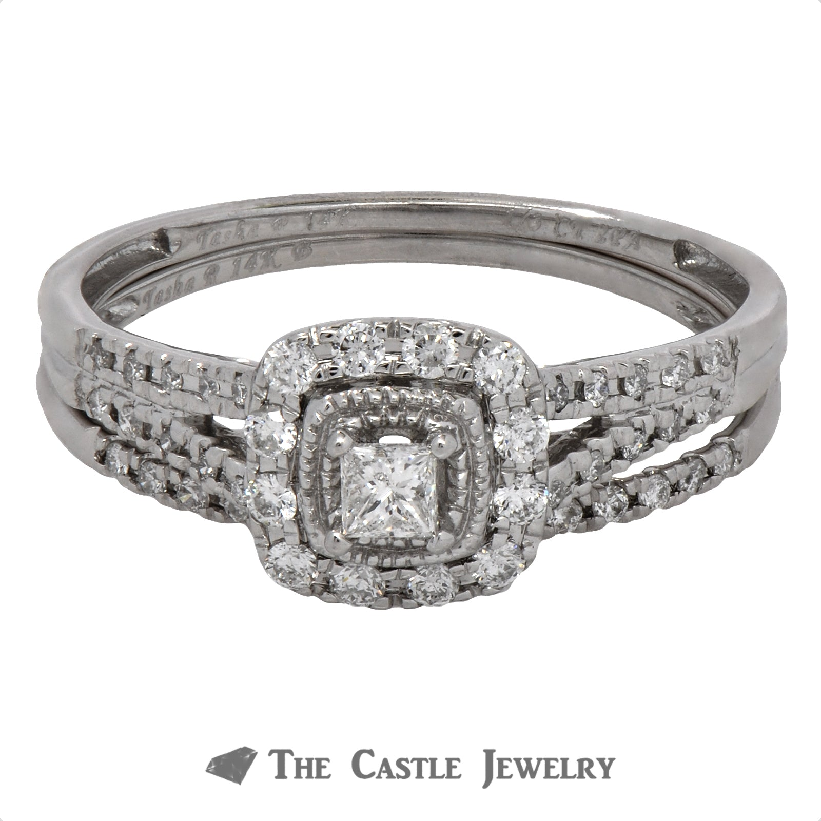 Crown Collection Princess Cut Diamond Halo Bridal Set with Split Shank