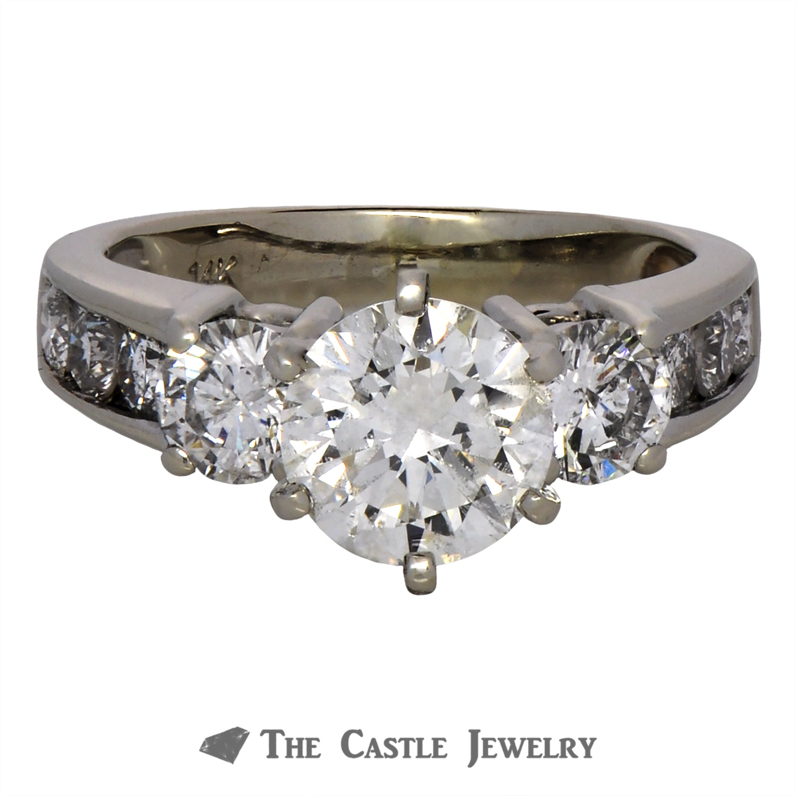 2.80cttw Round Brilliant Cut Diamond Engagement Ring in 14K White Gold