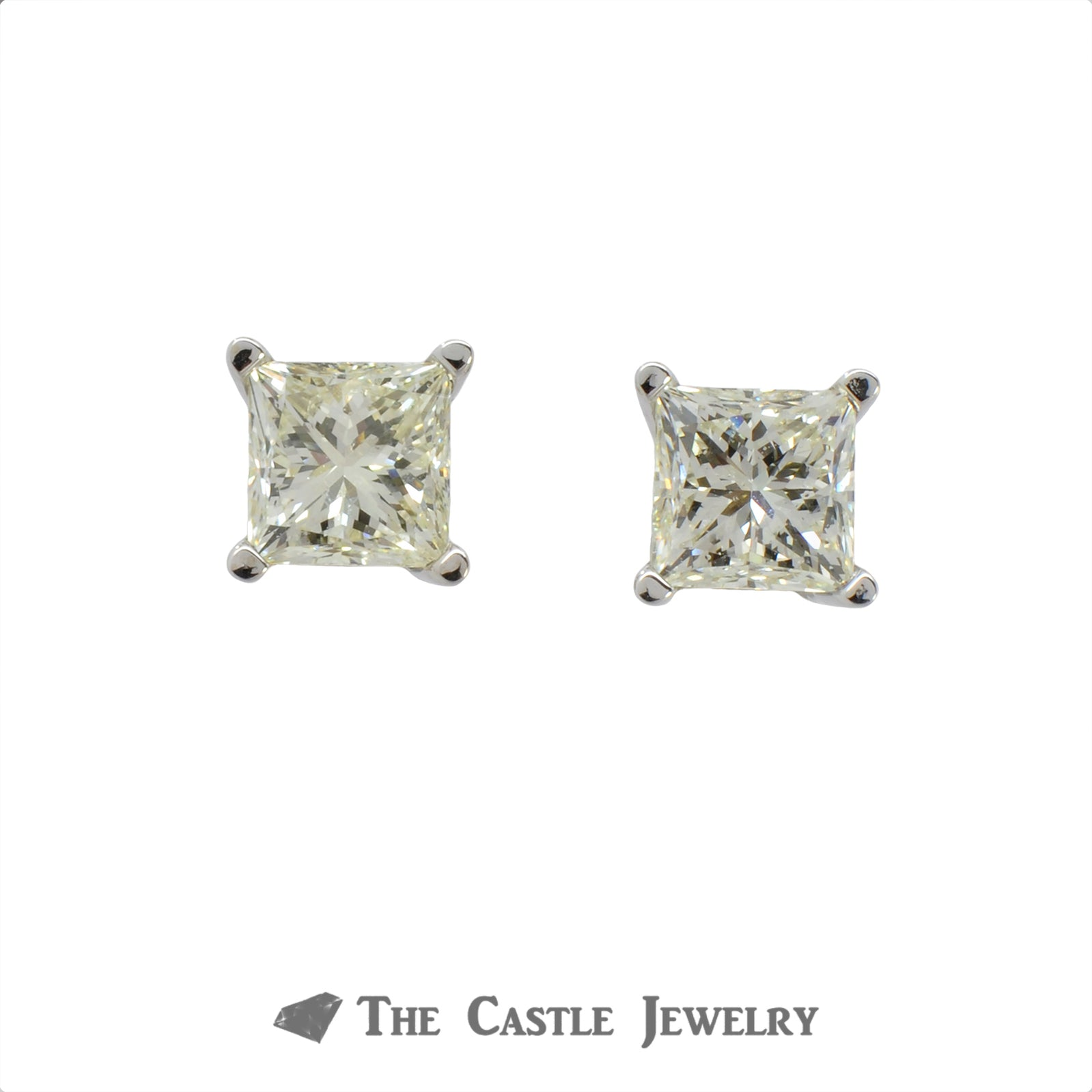 1.50cttw Princess Cut Diamond Stud Earrings in 14k White Gold