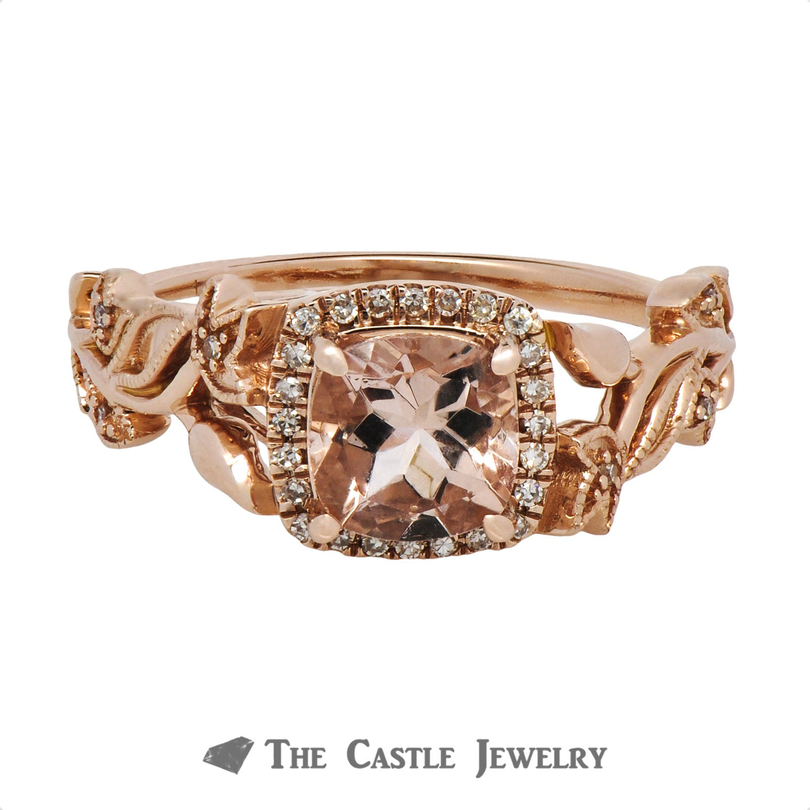 Cushion Cut Morganite Ring with Diamond Halo & Flower Design Rose Gold Mounting