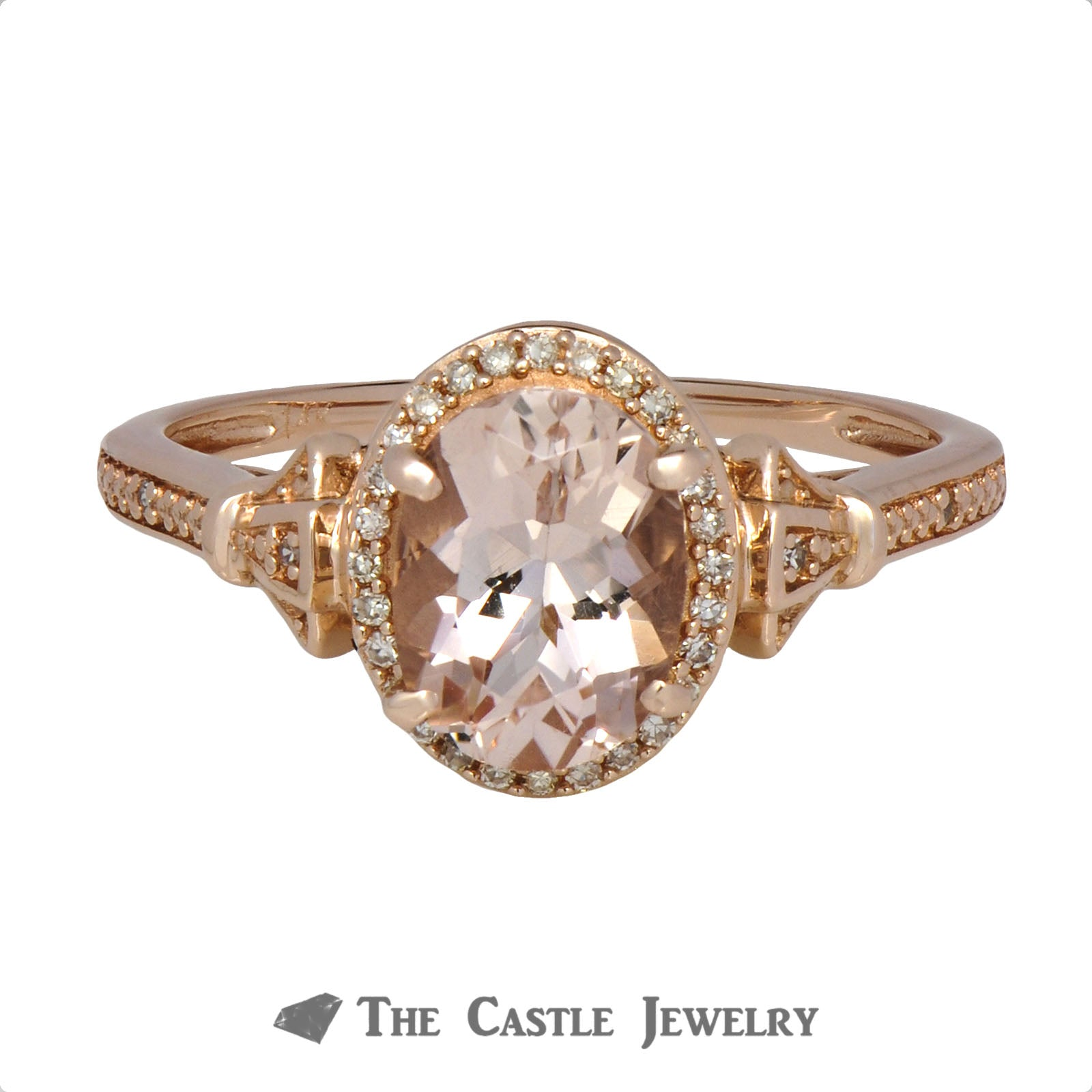 Oval Morganite Ring with Diamond Accents in 10K Rose Gold