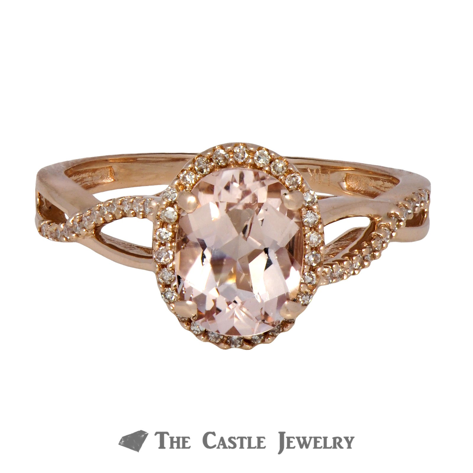 Morganite Ring with Diamond Bezel & Infinity Sides 14K Rose Gold