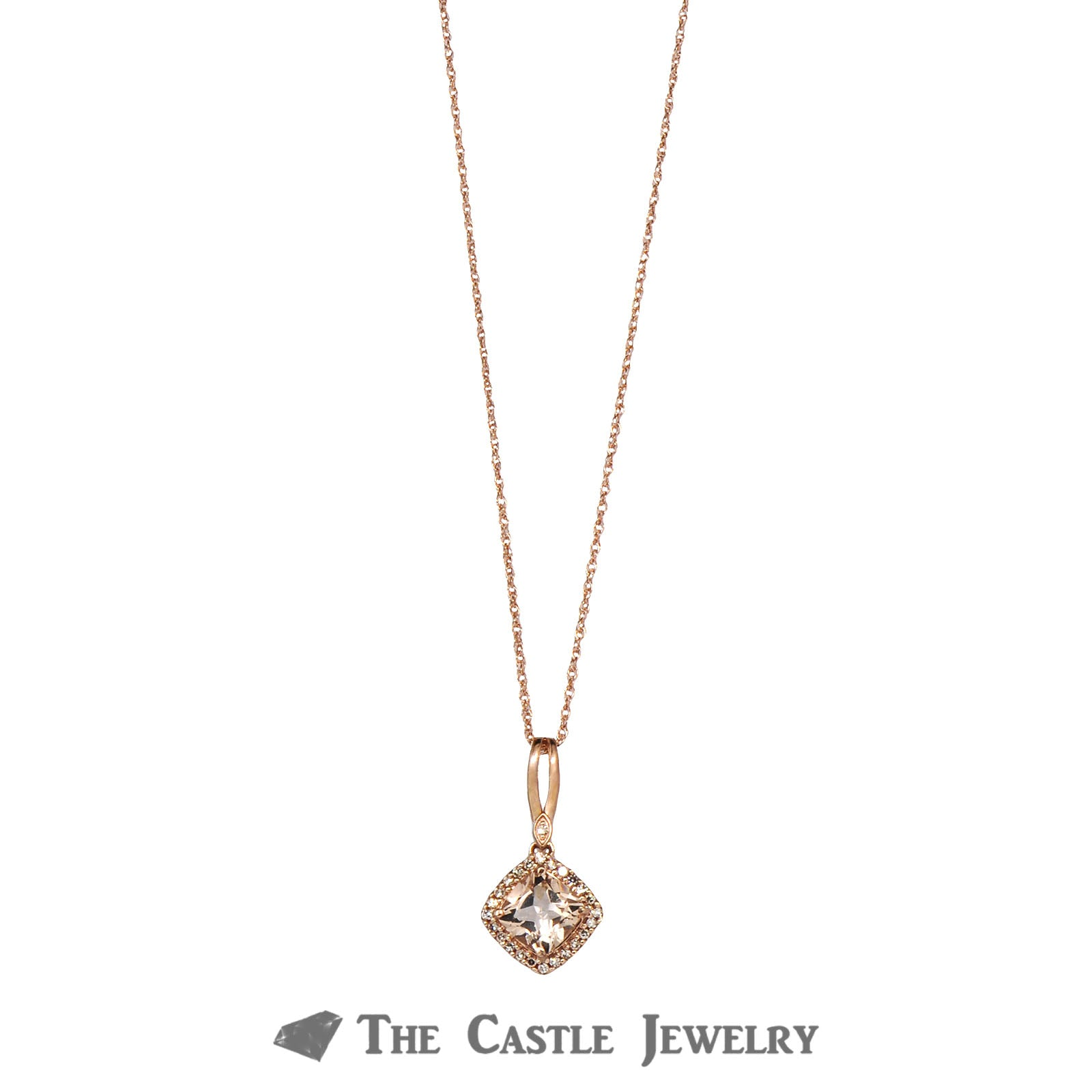 Cushion Cut Morganite Necklace with Diamond Bezel 14K Rose Gold
