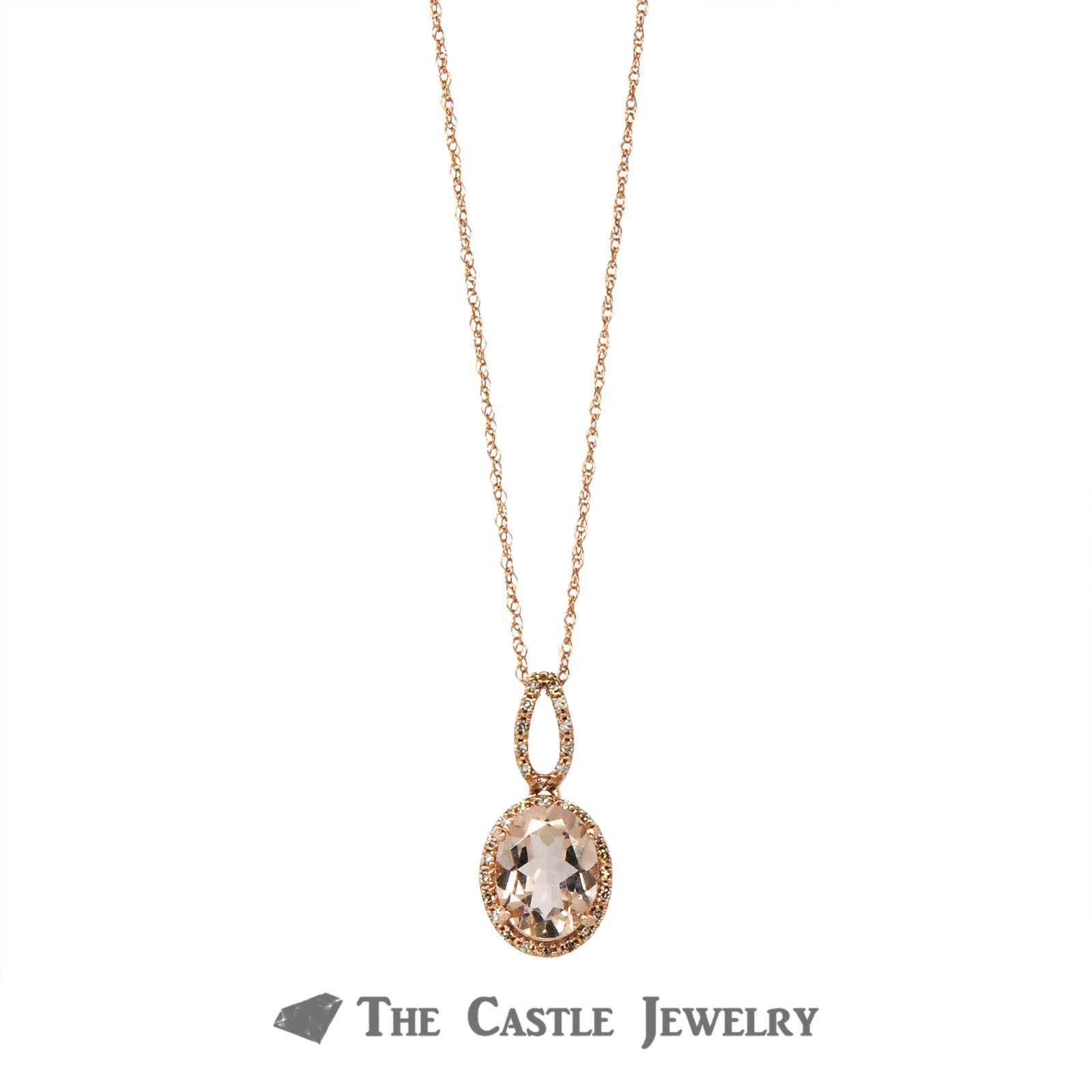 Oval Morganite Necklace with Diamond Halo & Bail in 14K Rose Gold