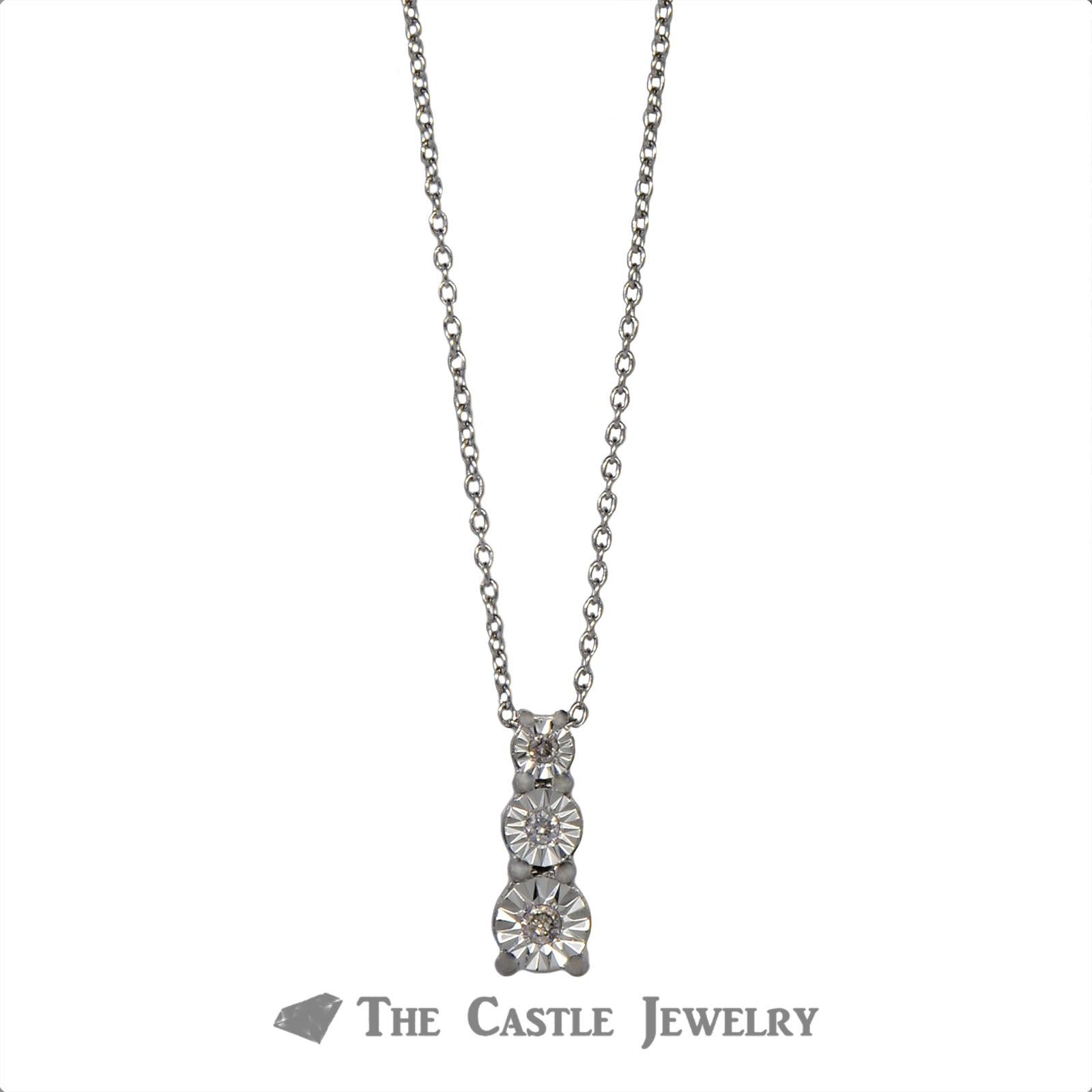 Three Diamond .10cttw Diamond Illusion Necklace in Sterling Silver-1
