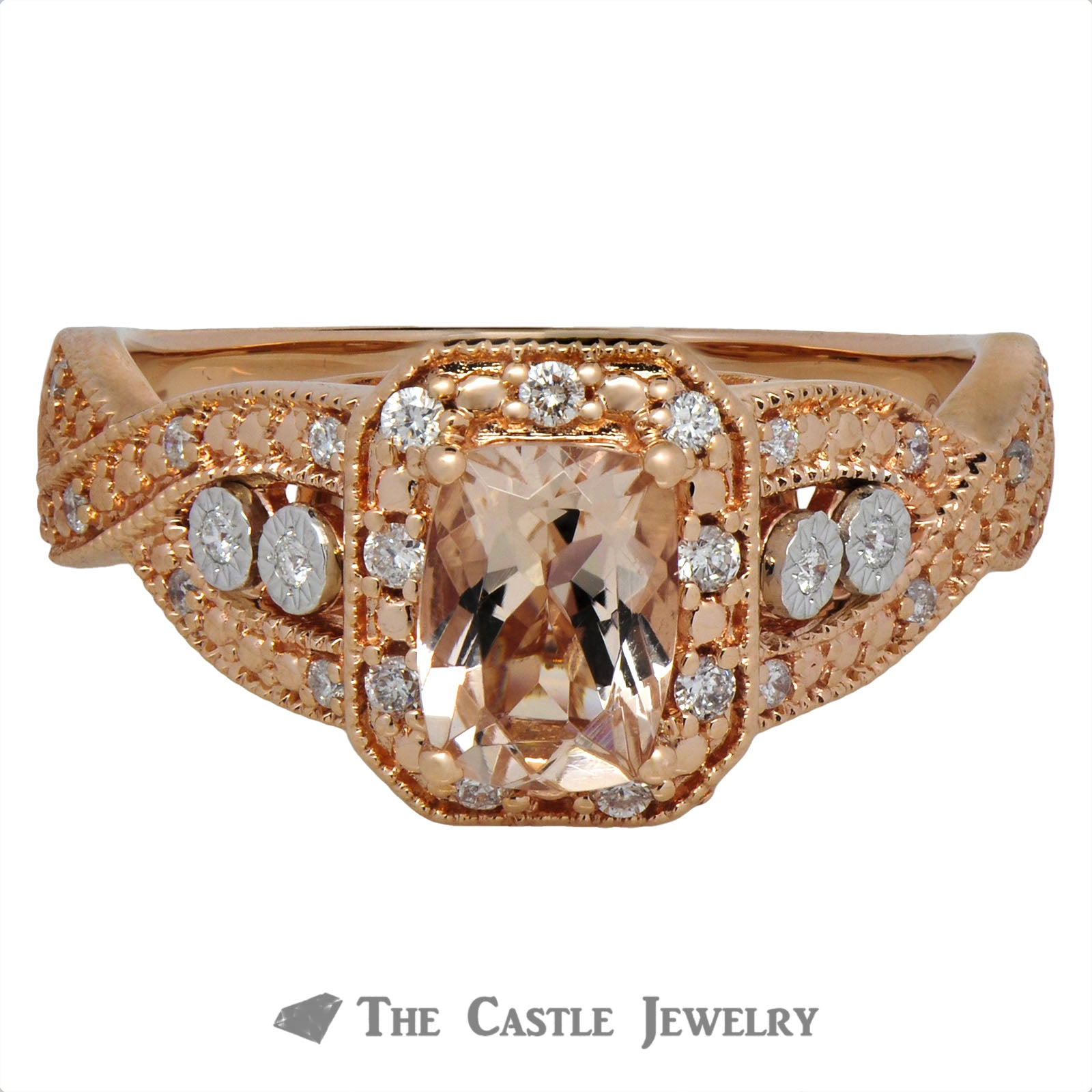 Cushion Cut Morganite Ring with Round Brilliant Cut Diamond Halo