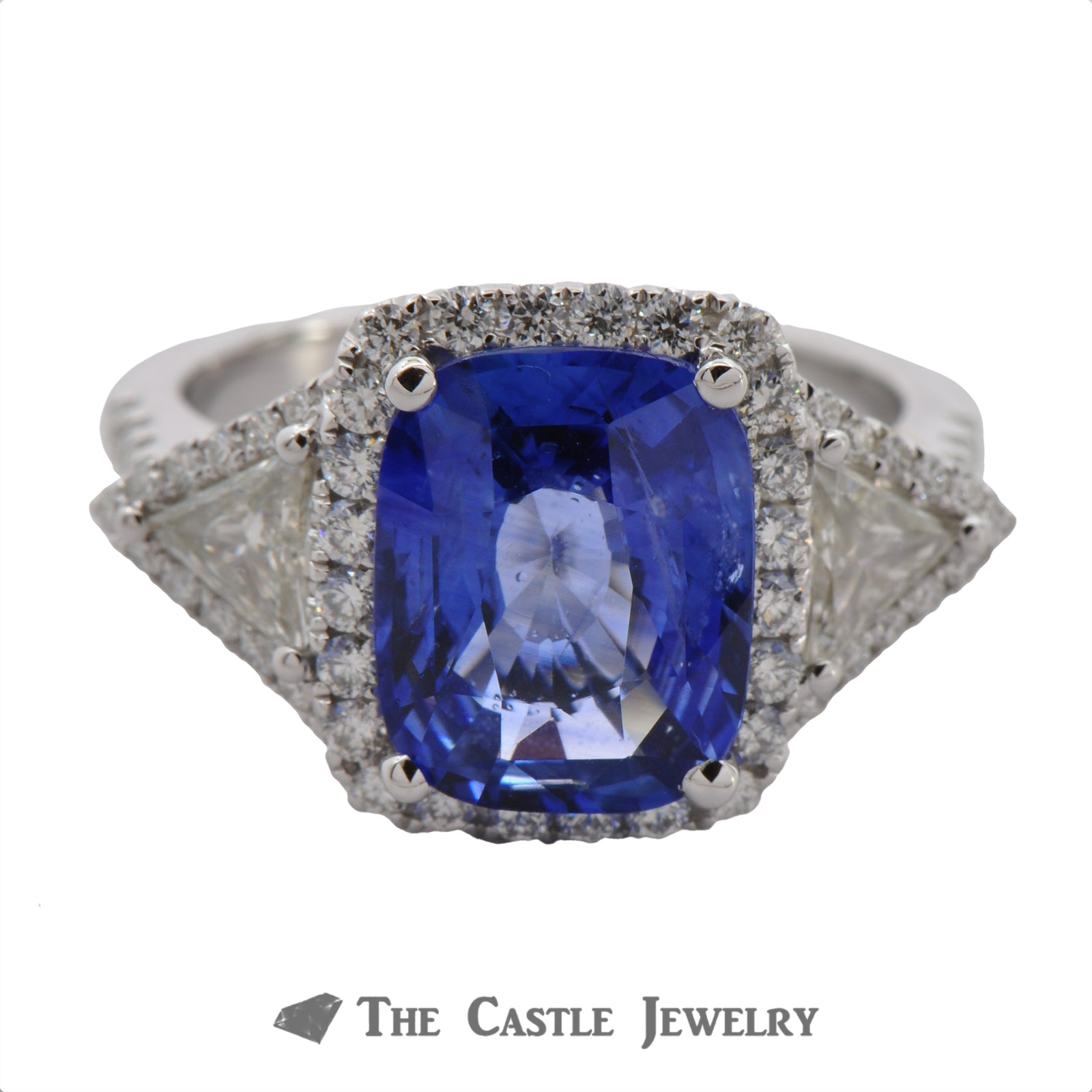 Cushion Cut Sapphire Ring with Trillion & Round Diamond Accents