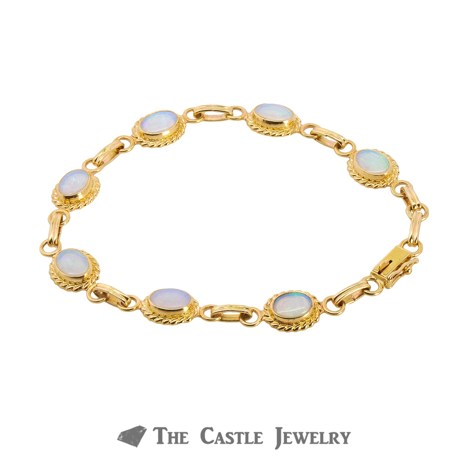 "7"" Oval Opal Bracelet with Rope Design Bezels Crafted in 14K Yellow Gold"