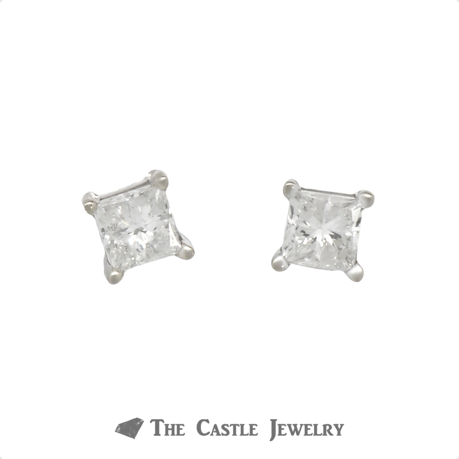 Princess Cut Diamond Stud Earrings in 14k White Gold
