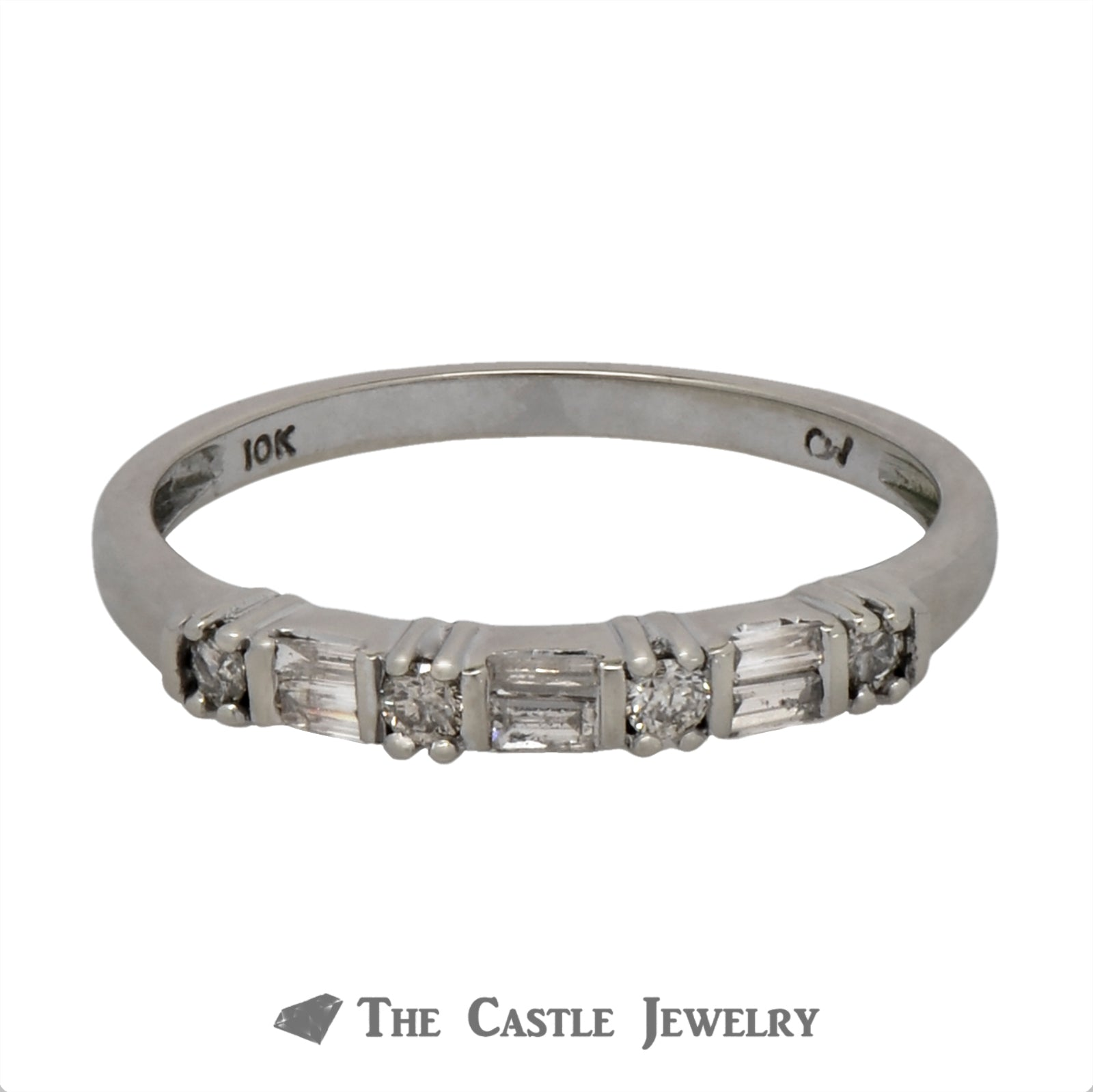 Baguette & Round Diamond Wedding Band in 10k White Gold