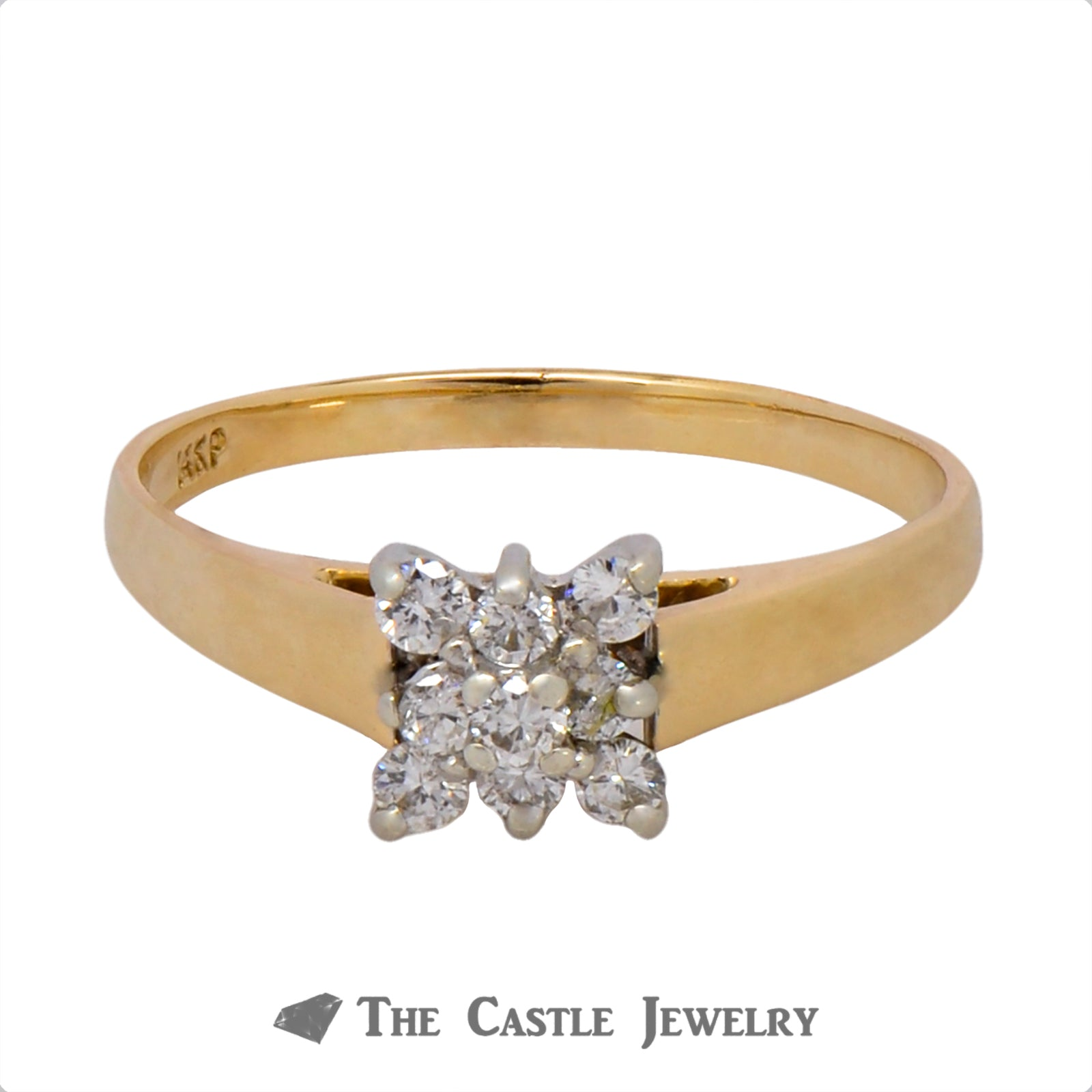 Square Diamond Shaped Cluster Ring in 14k Yellow Gold