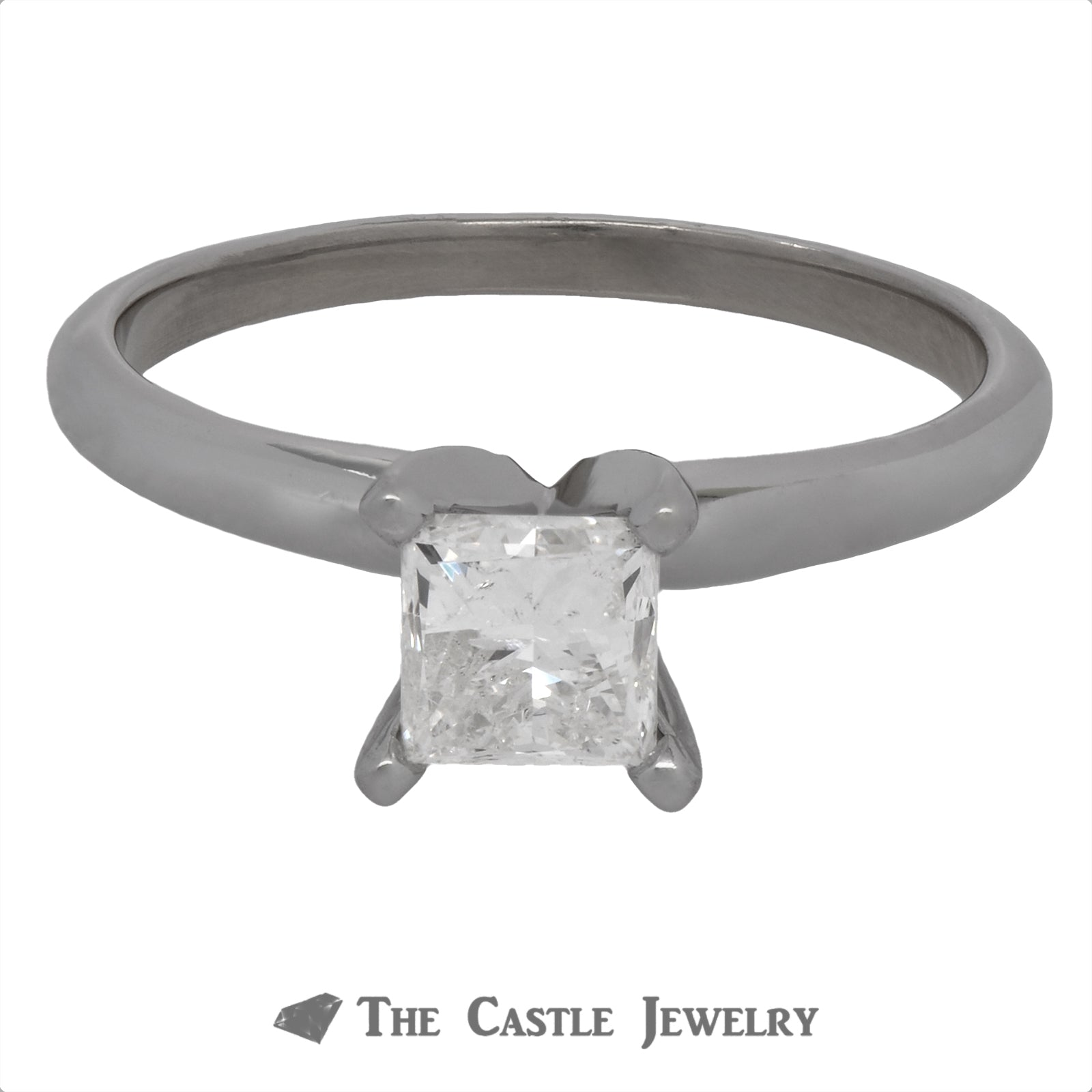 Princess Cut Diamond Engagement Ring Crafted in 14K White Gold
