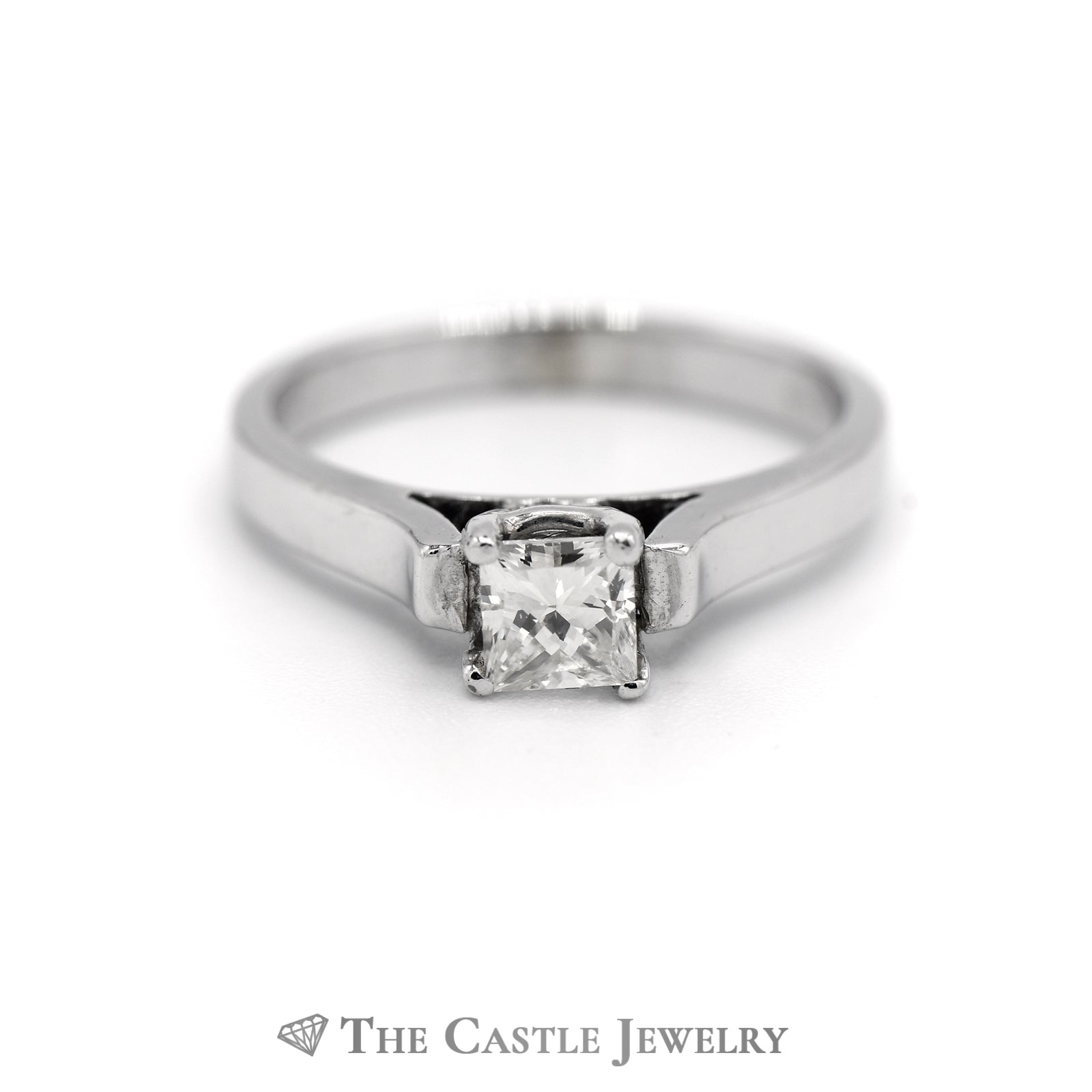 Princess Cut Diamond Solitaire in 14k White Gold