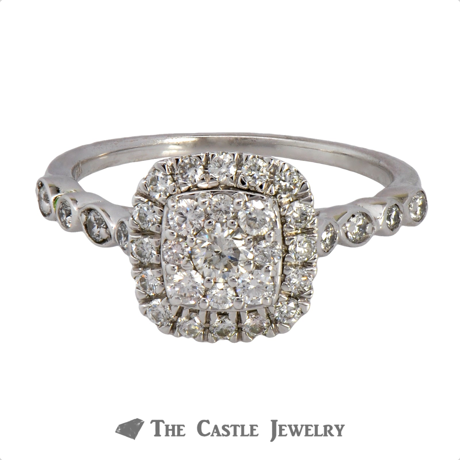 Crown Collection .50cttw Cushion Cut Shaped Diamond Halo & Cluster Engagement Ring
