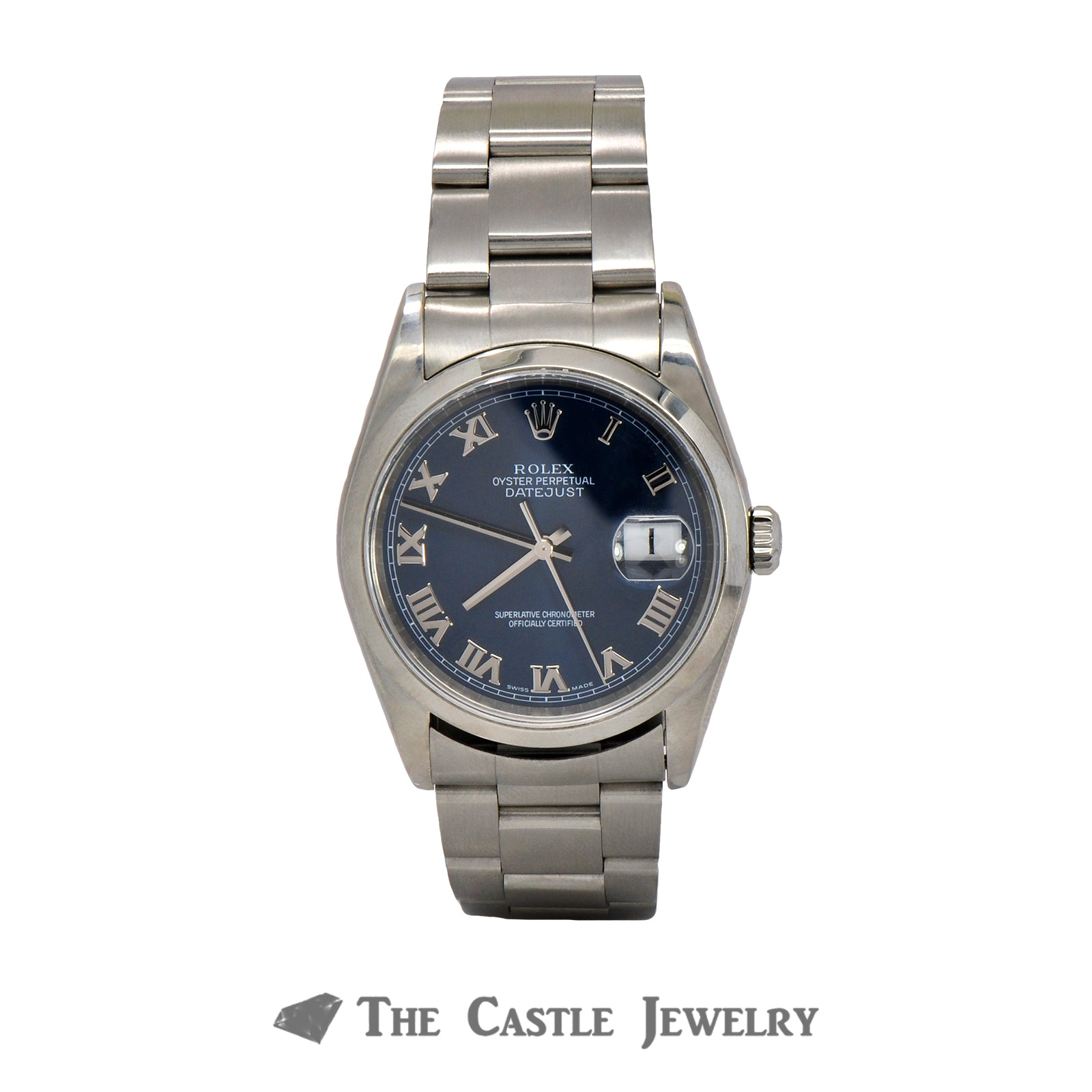 Men's 36mm Rolex Datejust with Blue Roman Numeral Dial on Oyster Band