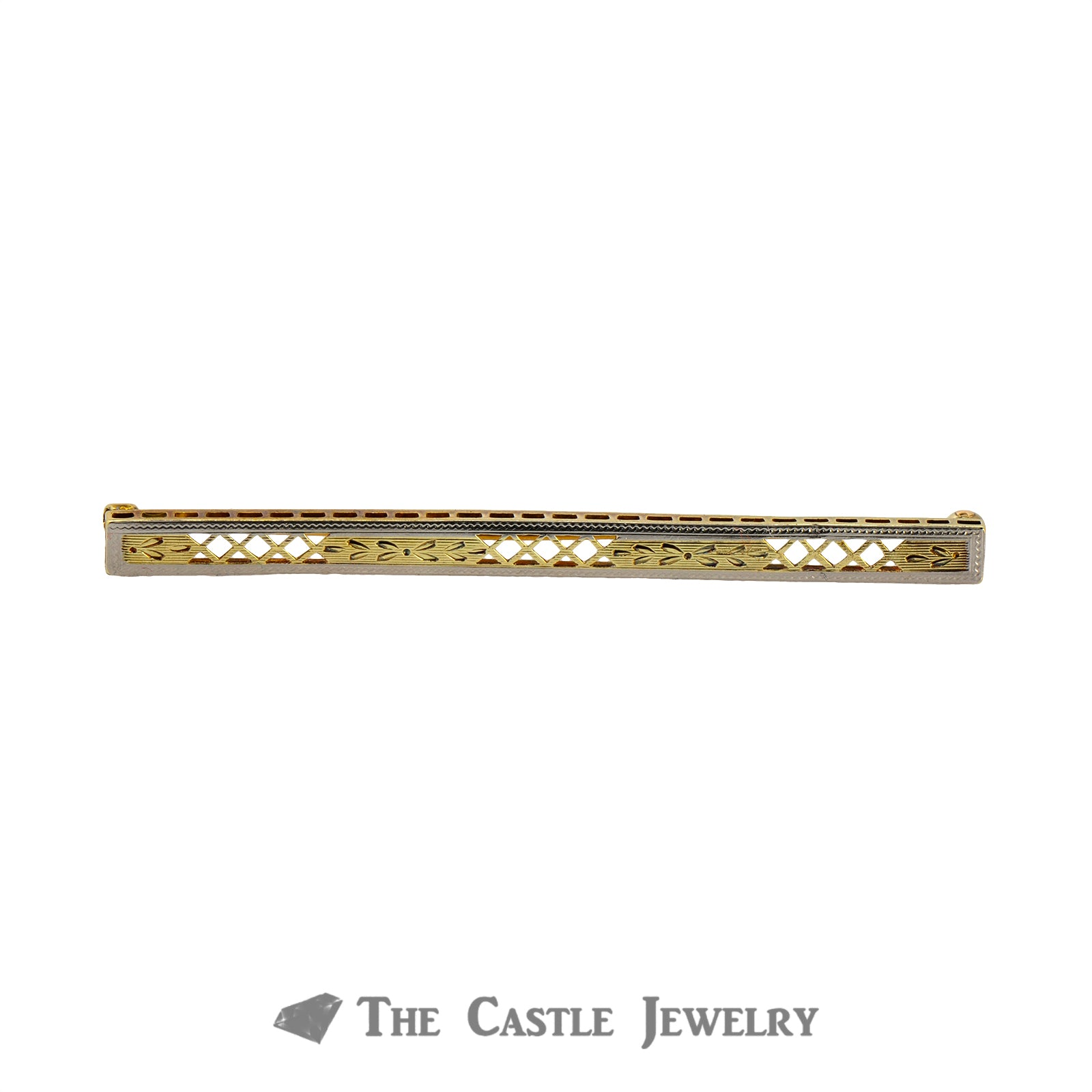 14K Two Tone Antique Bar Pin With Diamond Pattern