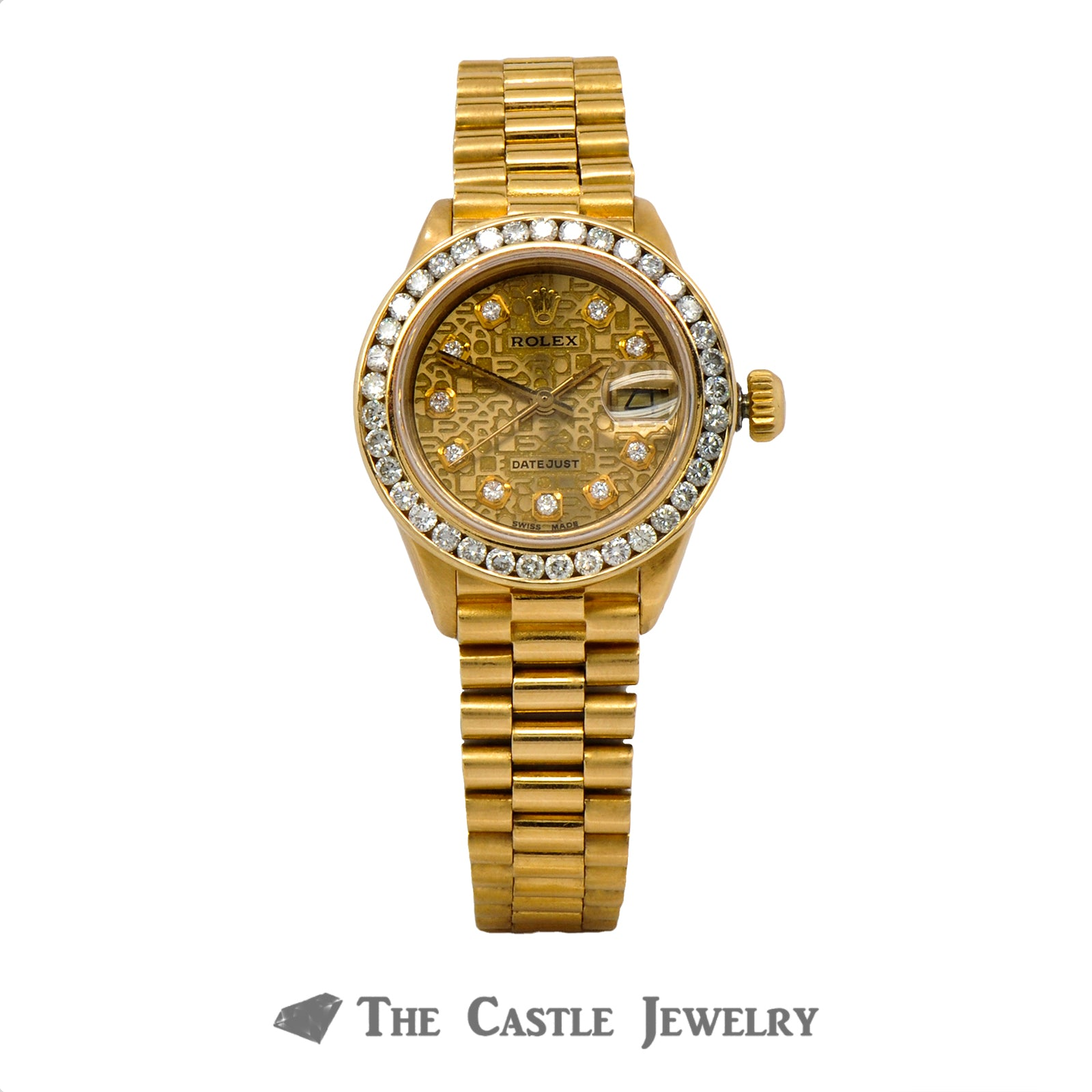 Vintage Ladies Rolex Presidential 26mm 18K Gold Signature Diamond Dial & Bezel 6917