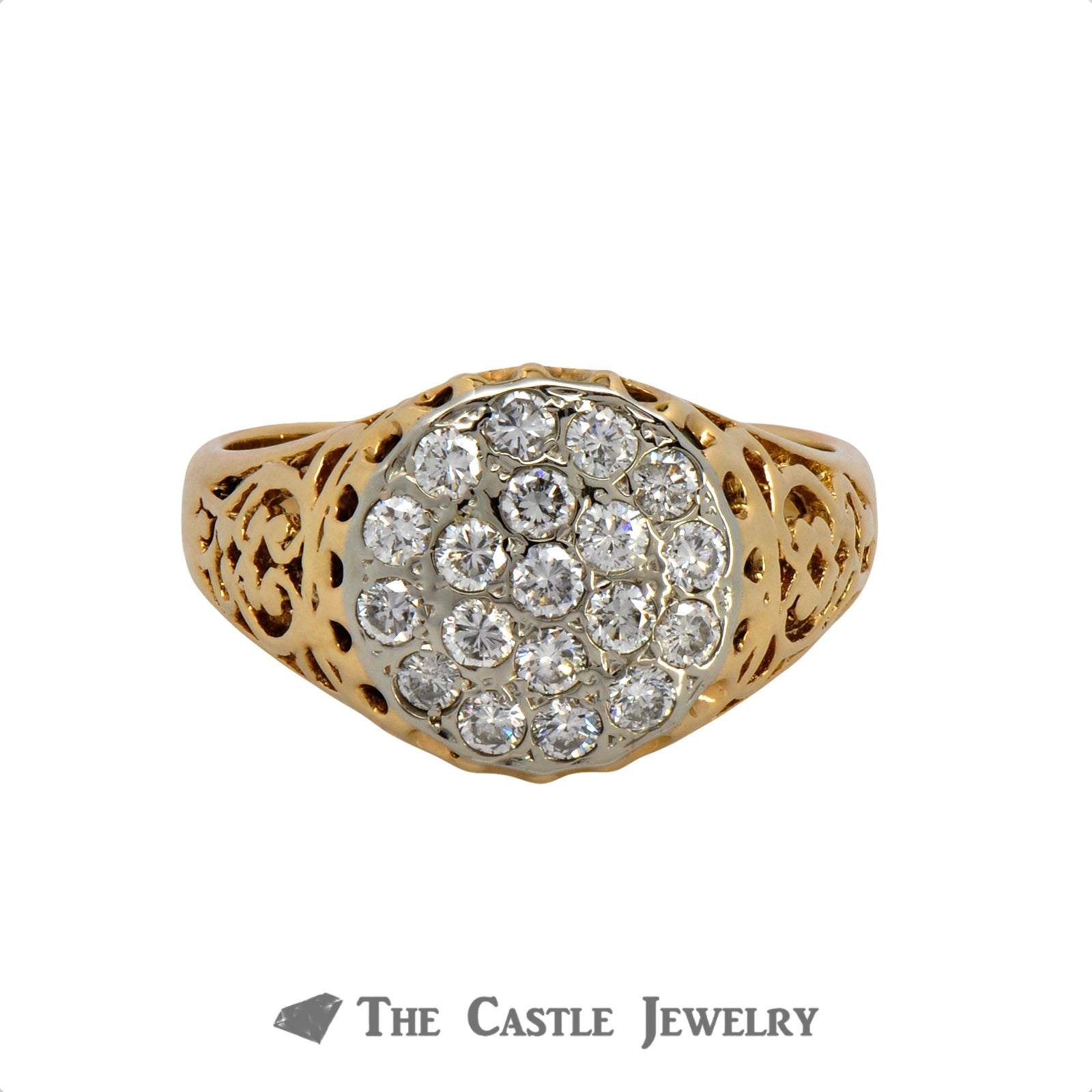 Flat Set 1cttw Diamond Kentucky Cluster Ring in 14K Yellow Gold