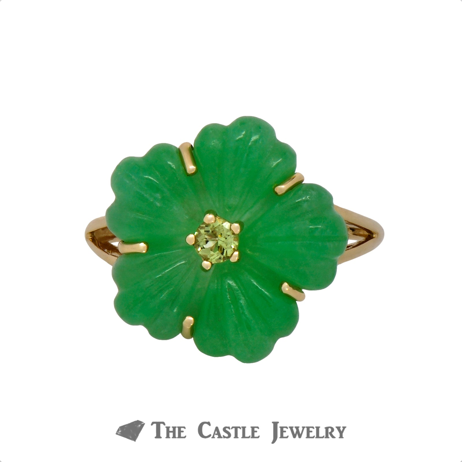 Unique Jade Flower Ring with Peridot Center in 14K Yellow Gold