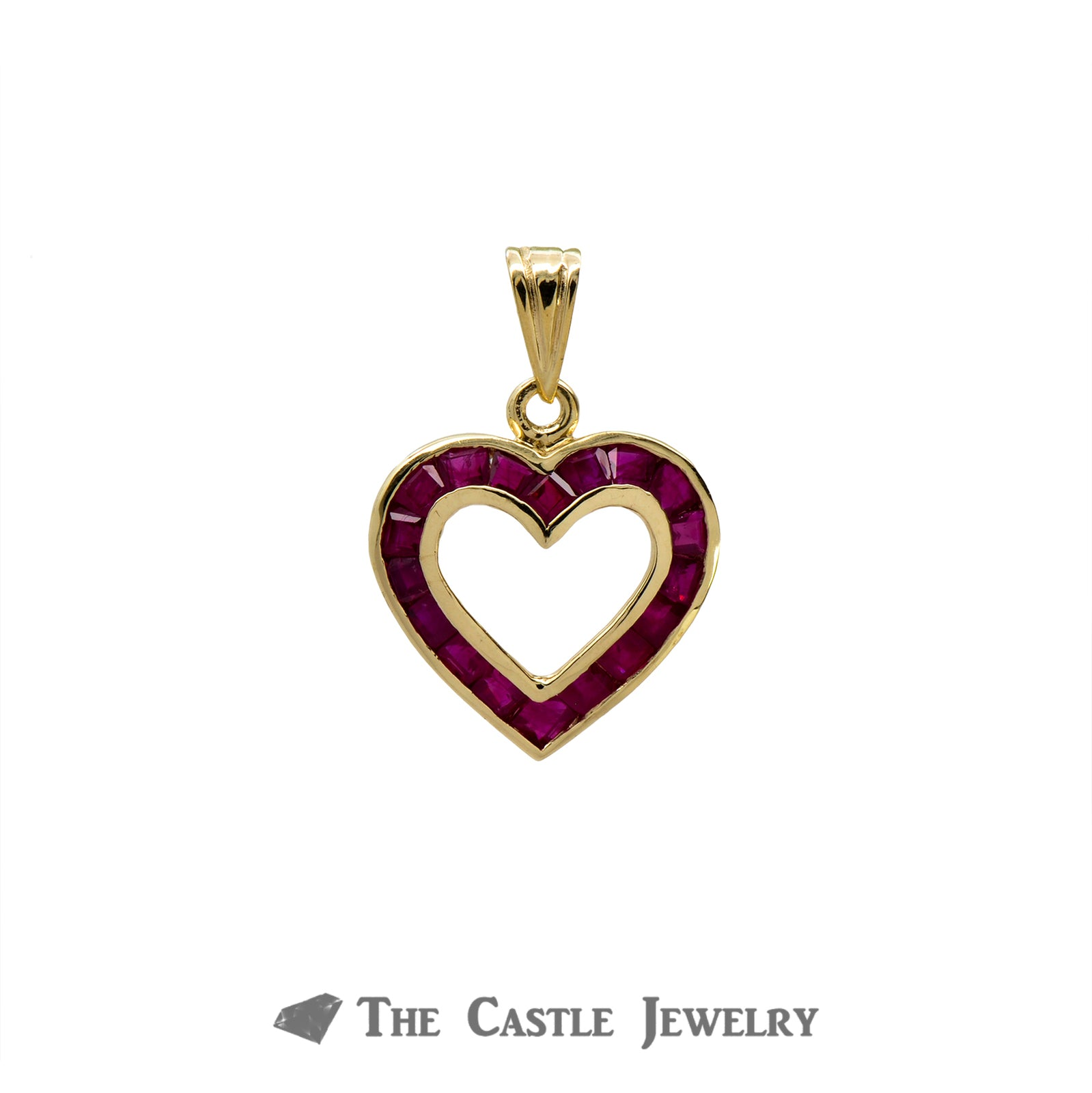 Heart Shaped Pendant with Channel Set Princess Cut Rubies in 14k Yellow Gold