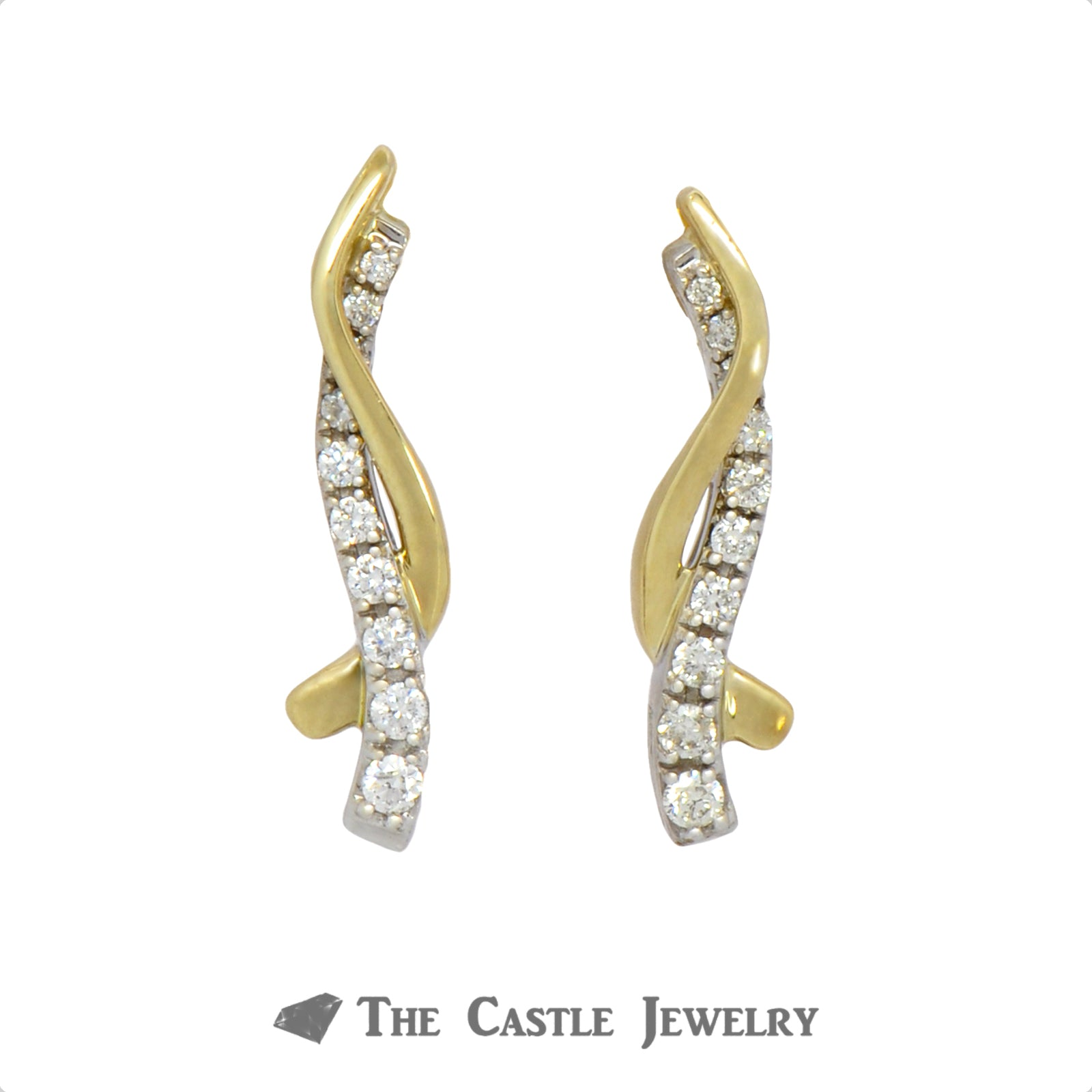 Graduated .25cttw Diamond Earrings with Intertwining Gold Bars