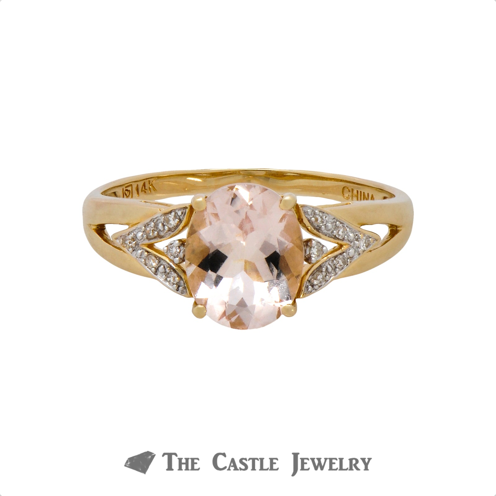Light Pink Morganite Ring w/ V Shaped Diamond Accented Mounting-0