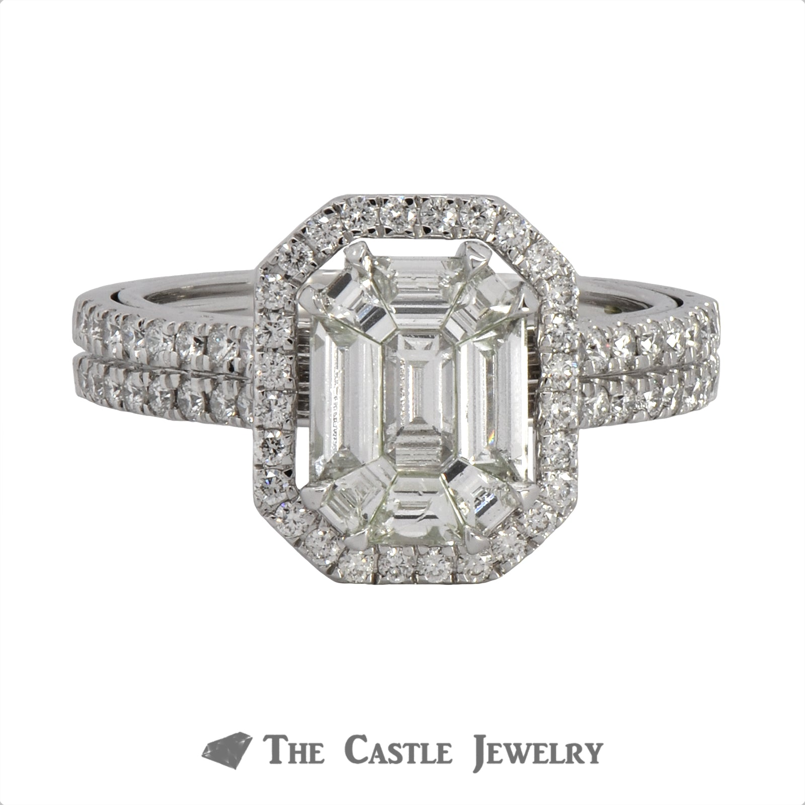 Unique Emerald Cut 1.50cttw Diamond Invisible Set Engagement Ring