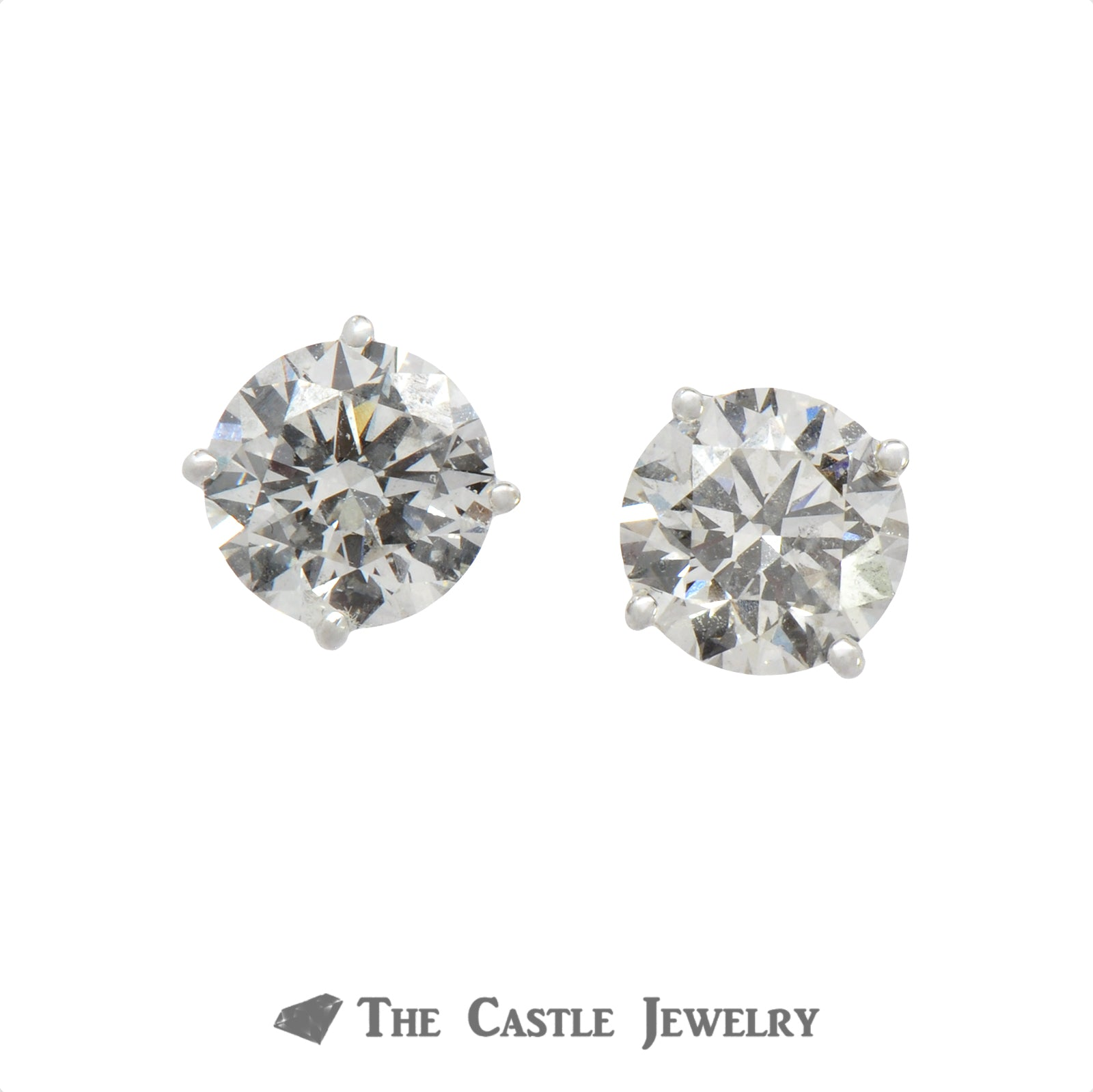 Lab Grown Certified Round Brilliant Cut Diamond Stud Earrings 3.01 cttw