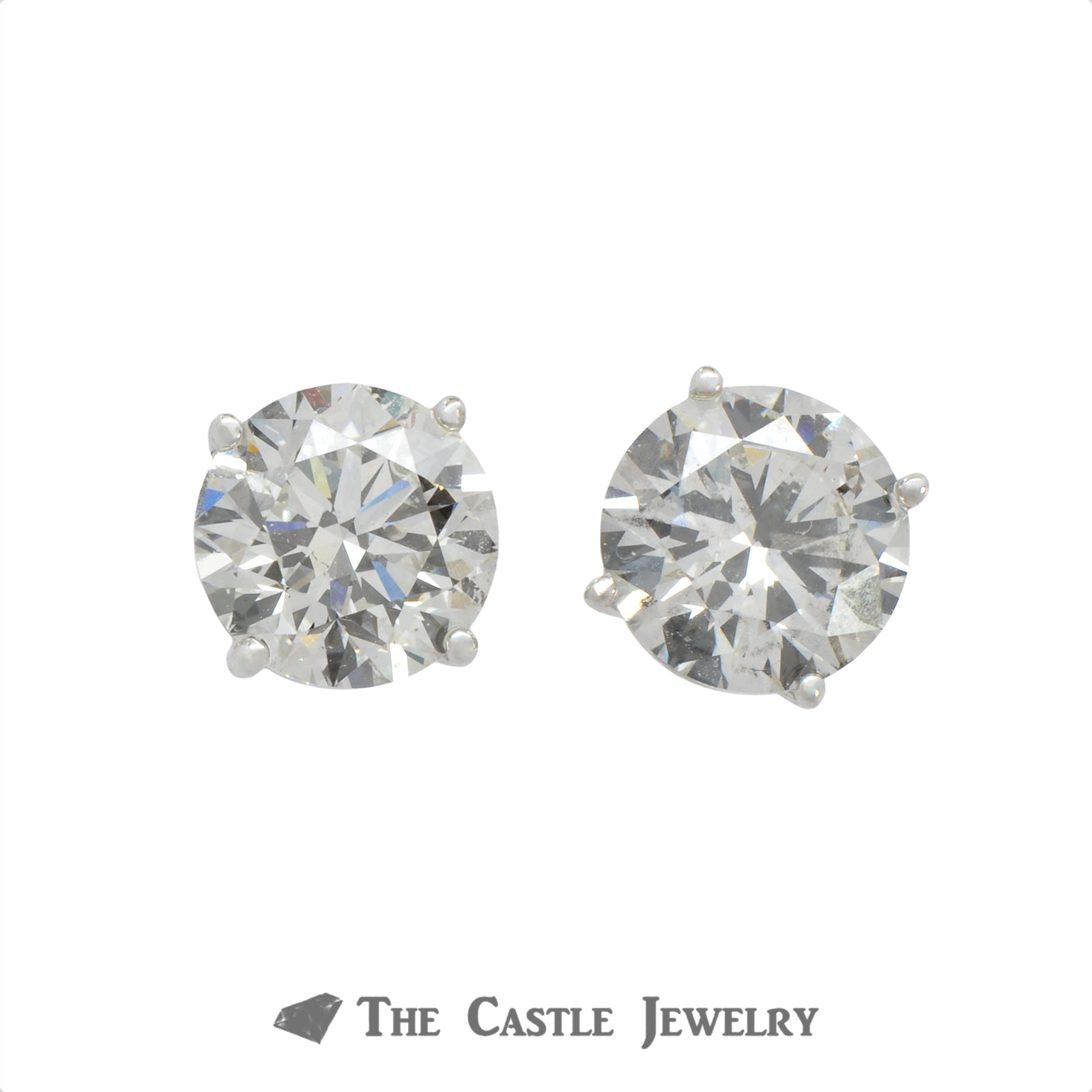 Lab Grown Certified Round Brilliant Cut Diamond Stud Earrings 4.01 cttw