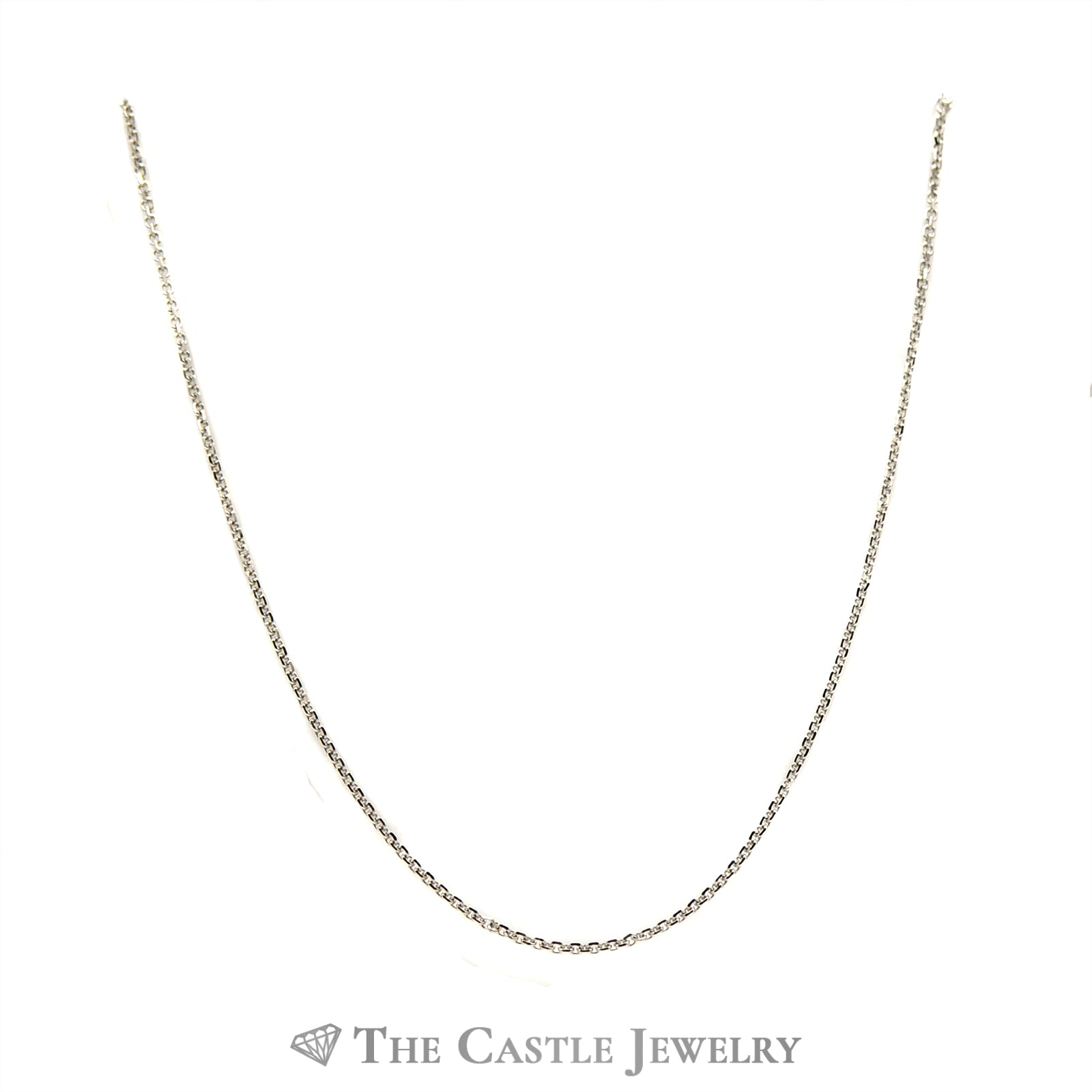 10k White Gold 18 Inch Solid Cable Chain