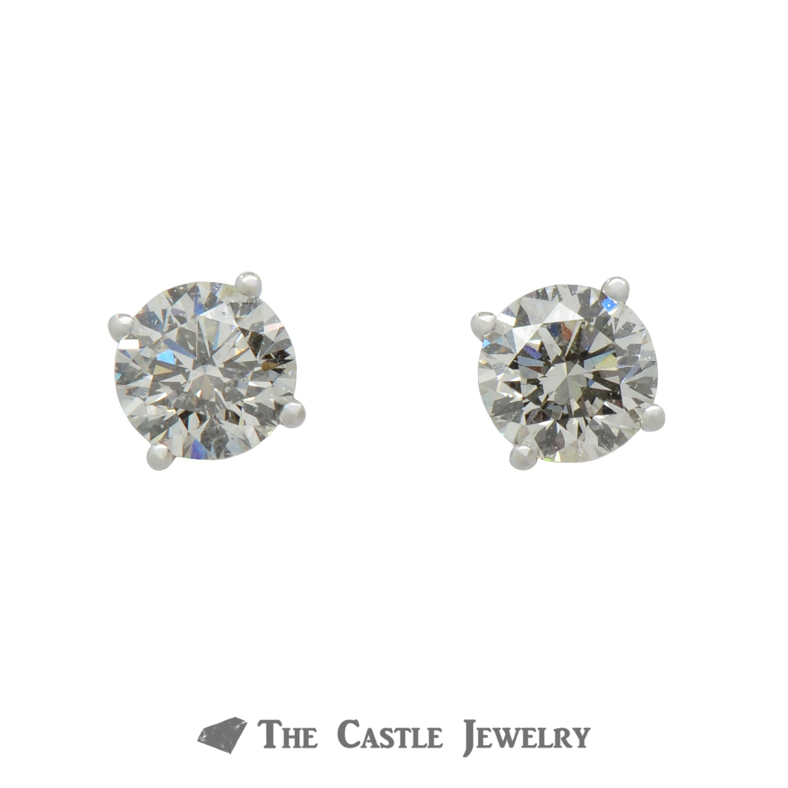 Lab Grown Round Brilliant Diamond Stud Earrings 1.42 cttw In 14KT White Gold